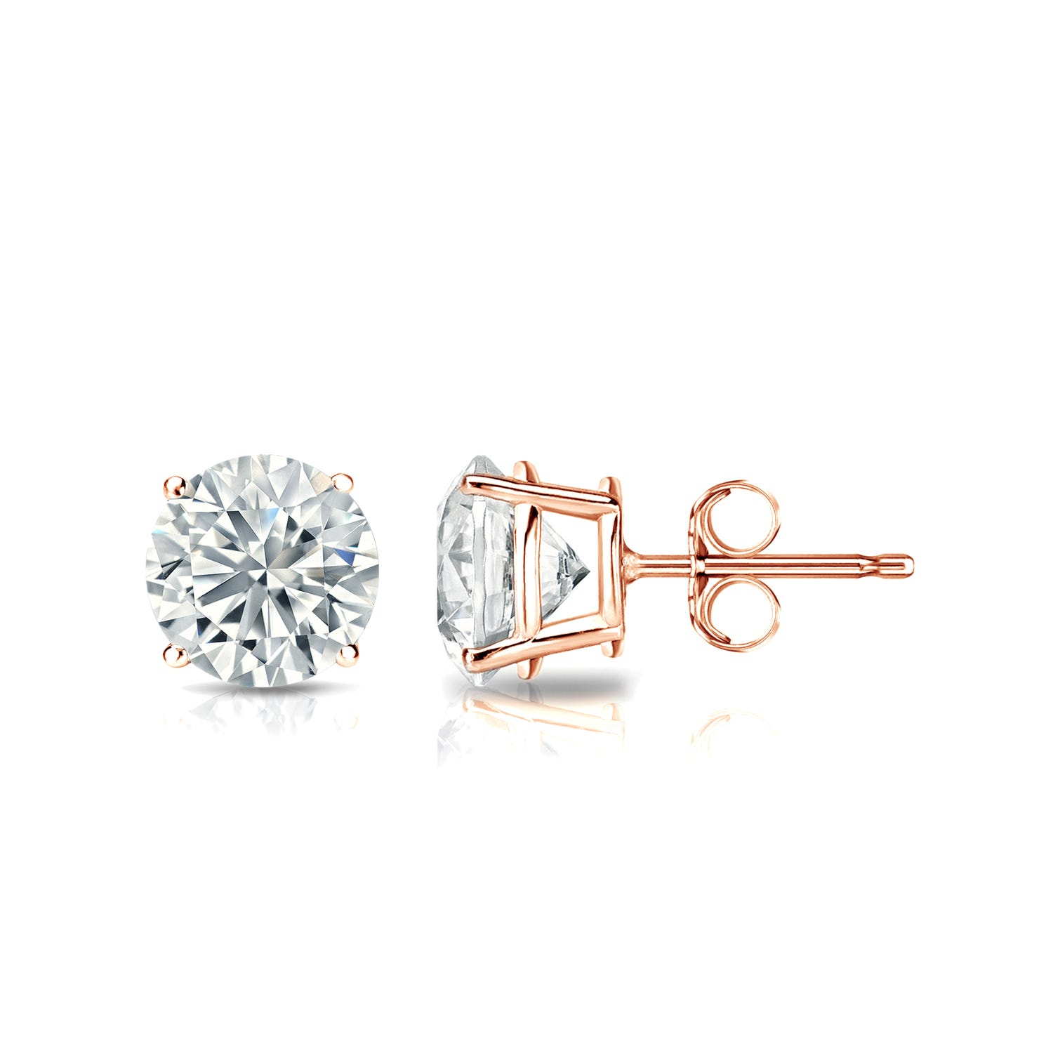 Diamond 1ctw. Round Solitaire Stud Earrings (I-J, SI1) 14k Rose Gold