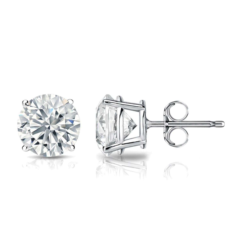 Diamond 1 1/2ctw. Round Solitaire Stud Earrings (I-J, VS2) Platinum
