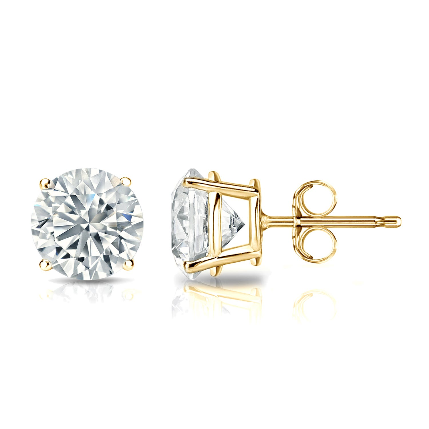 Diamond 1 1/2ctw. Round Solitaire Stud Earrings (I-J, I2) 18k Yellow Gold
