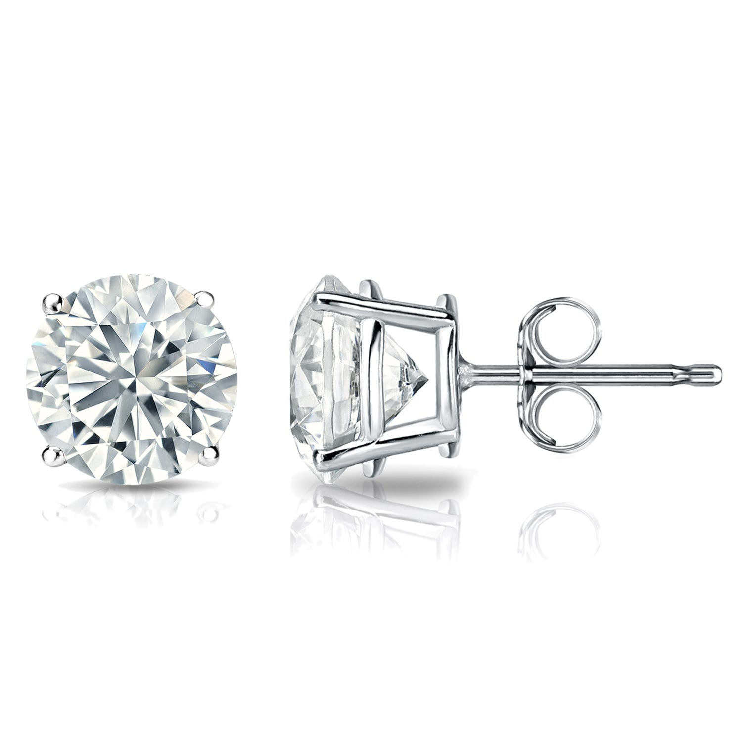 Diamond 2ctw. Round Solitaire Stud Earrings (I-J, I2) Platinum
