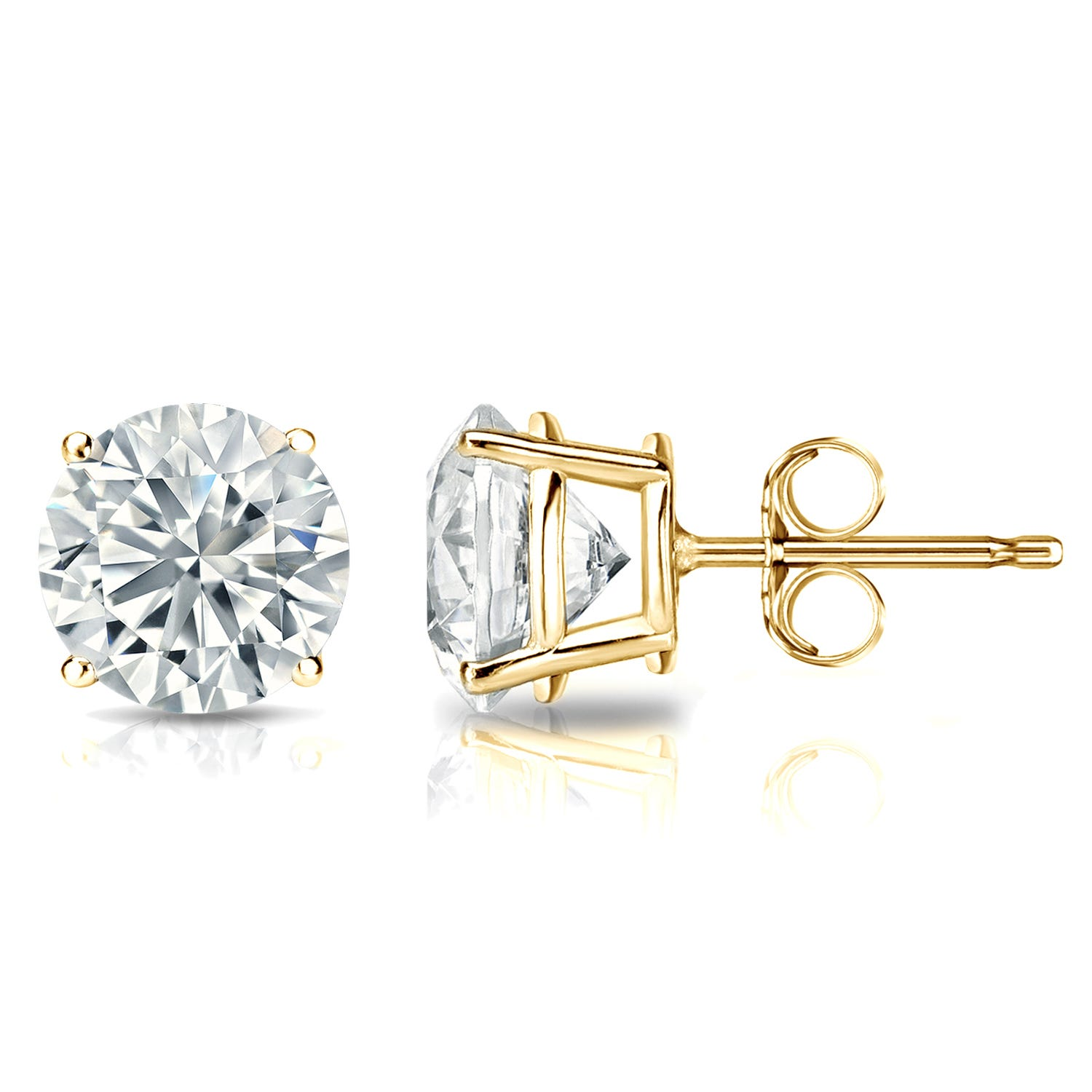 Diamond 2ctw. Round Solitaire Stud Earrings (I-J, I1) 14k Yellow Gold