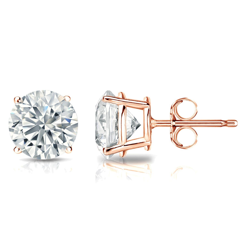 Diamond 2ctw. Round Solitaire Stud Earrings (I-J, I1) 14k Rose Gold
