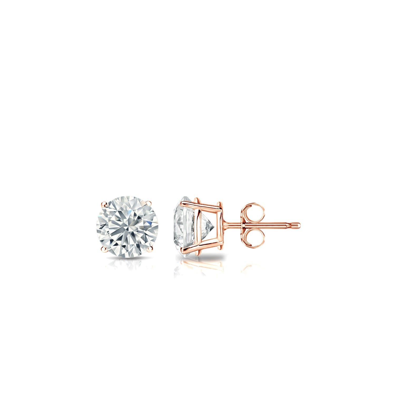 Diamond 1/3ctw. Round Solitaire Stud Earrings (I-J, I2) 10k Rose Gold