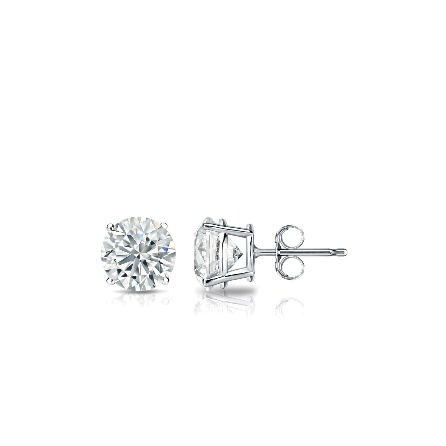 Diamond 3/8ctw. Round Solitaire Stud Earrings (I-J, VS2) Platinum