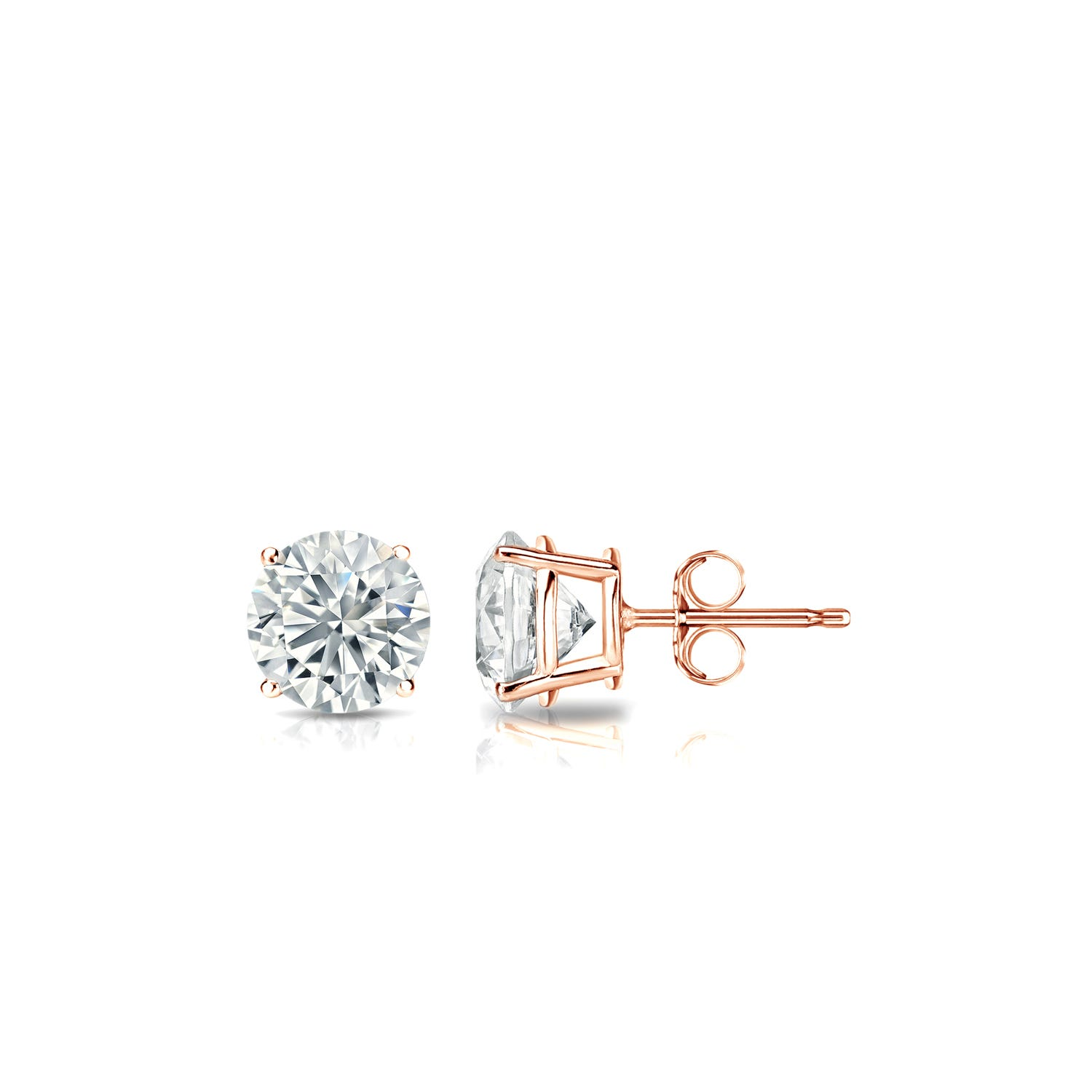 Diamond 3/8ctw. Round Solitaire Stud Earrings (I-J, VS2) 14k Rose Gold