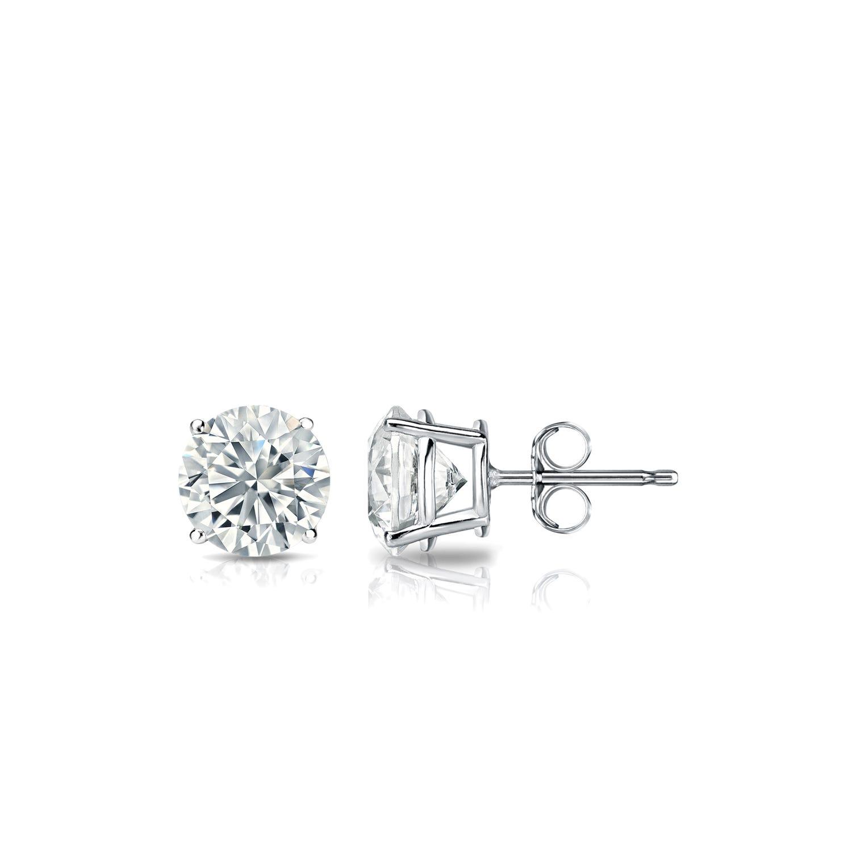 Diamond 1/2ctw. Round Solitaire Stud Earrings (I-J, SI2) Platinum