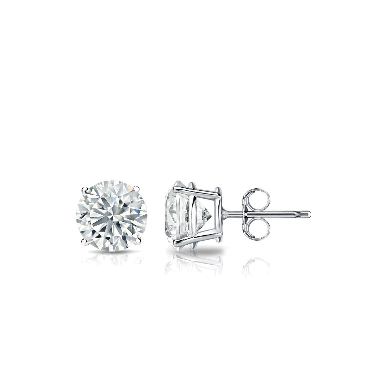 Diamond 5/8ctw. Round Solitaire Stud Earrings (I-J VS2) 18K White Gold