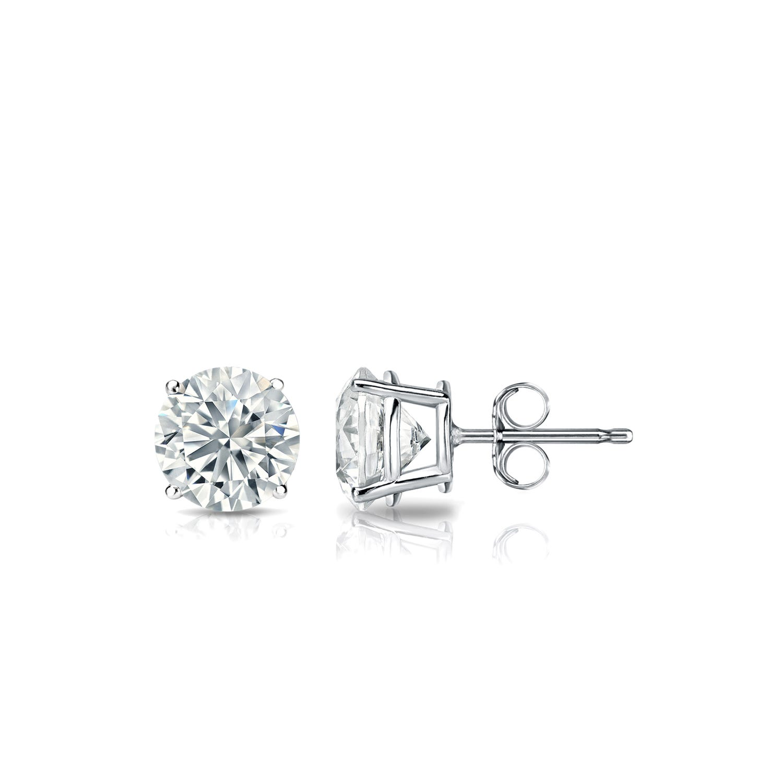 Diamond 5/8ctw. Round Solitaire Stud Earrings (I-J, I2) Platinum