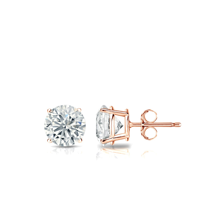 Diamond 5/8ctw. Round Solitaire Stud Earrings (I-J, VS2) 14k Rose Gold