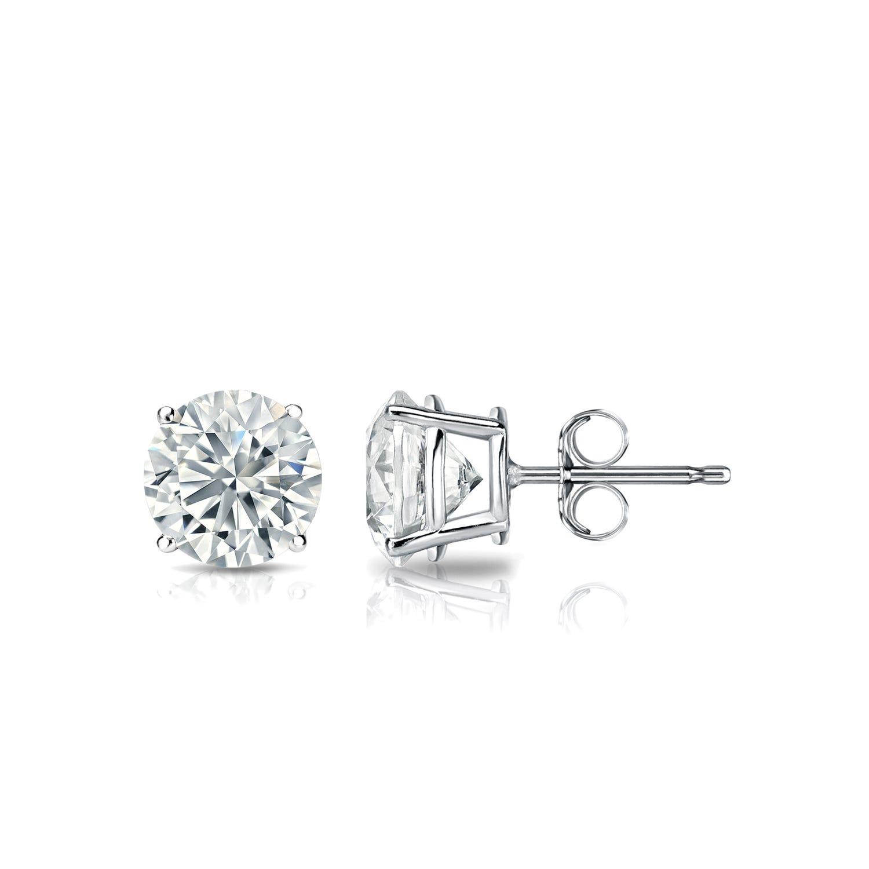 Diamond 3/4ctw. Round Solitaire Stud Earrings (I-J. VS2) Platinum
