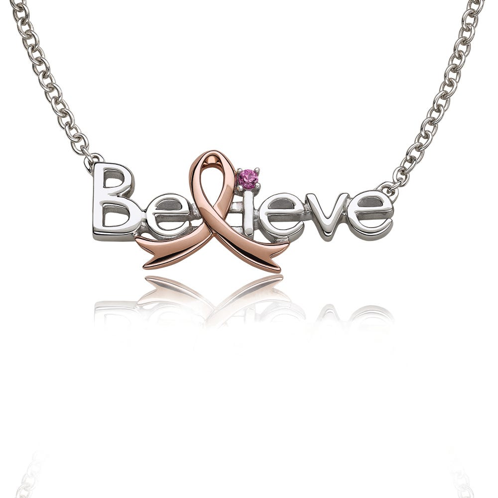 Promise Of Hope 'Believe' Pink Gemstone Pendant Necklace