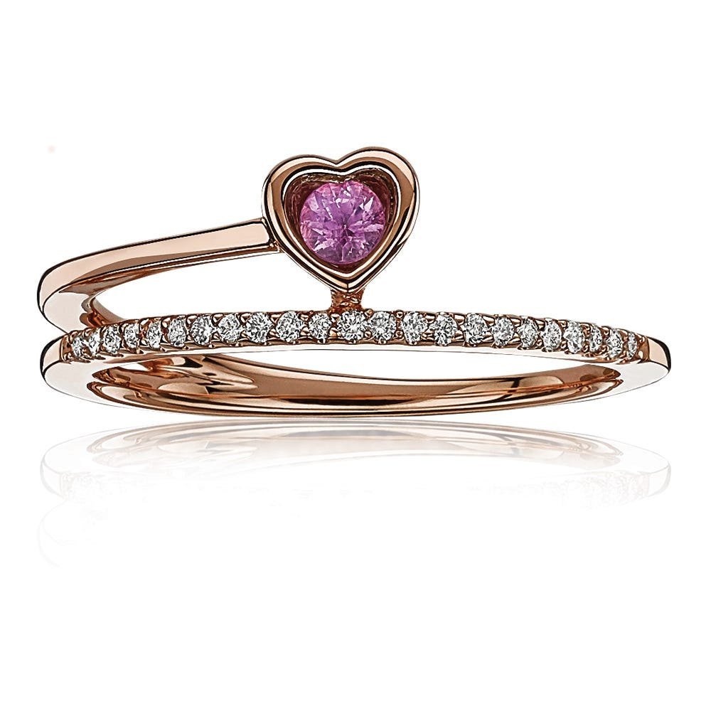Created Pink Sapphire Heart & Diamond Ring in 10k Rose Gold