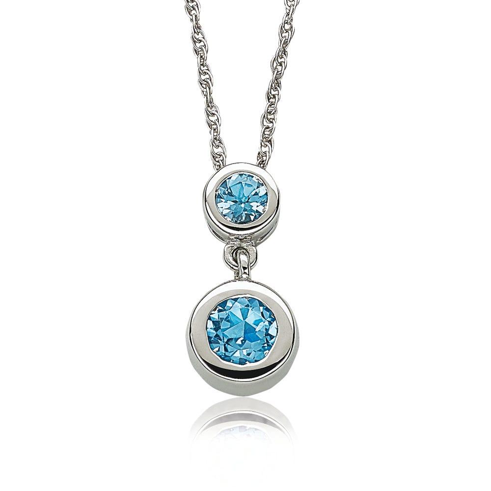 Blue Topaz Bezel-Set Drop Lariat Necklace in Sterling Silver