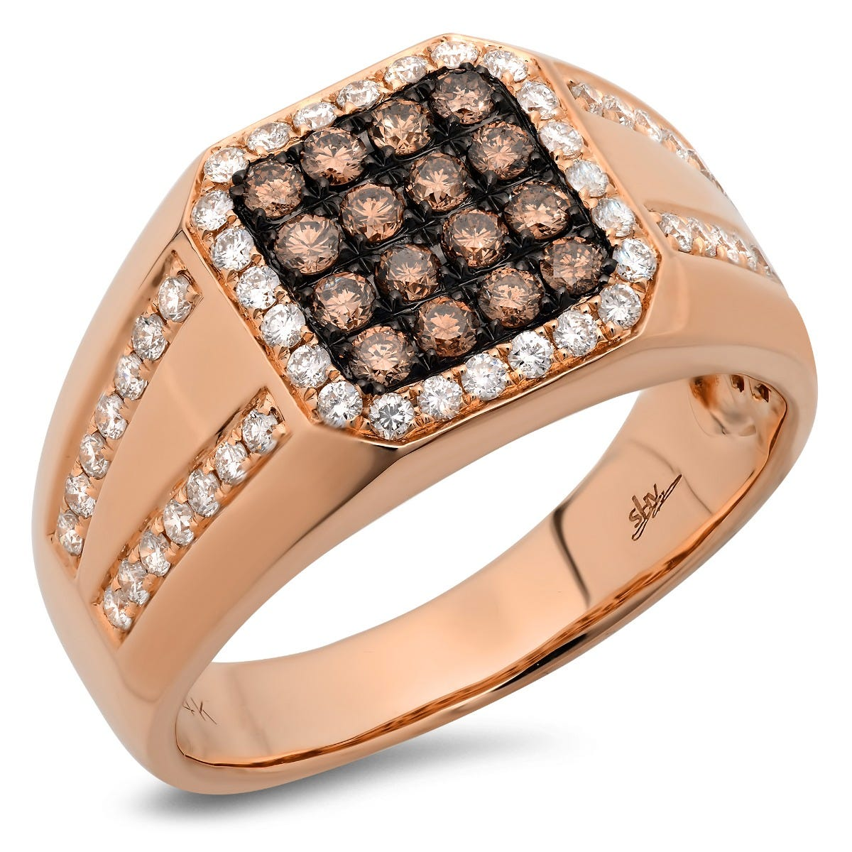 Shy Creation Men's White & Champagne Diamond Men's Ring in 14k Rose Gold