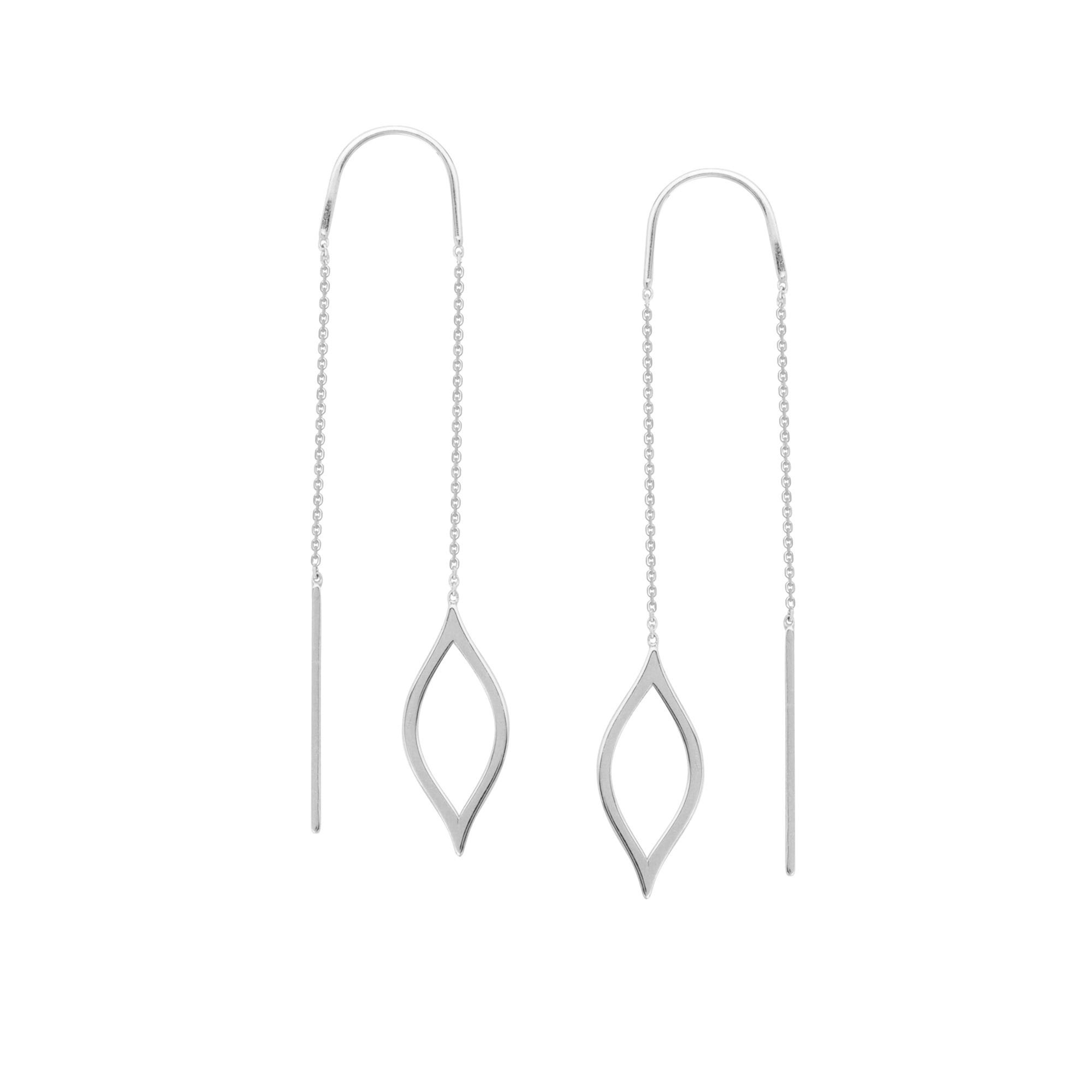 Fancy Marquise Threaded Earrings in 14k White Gold