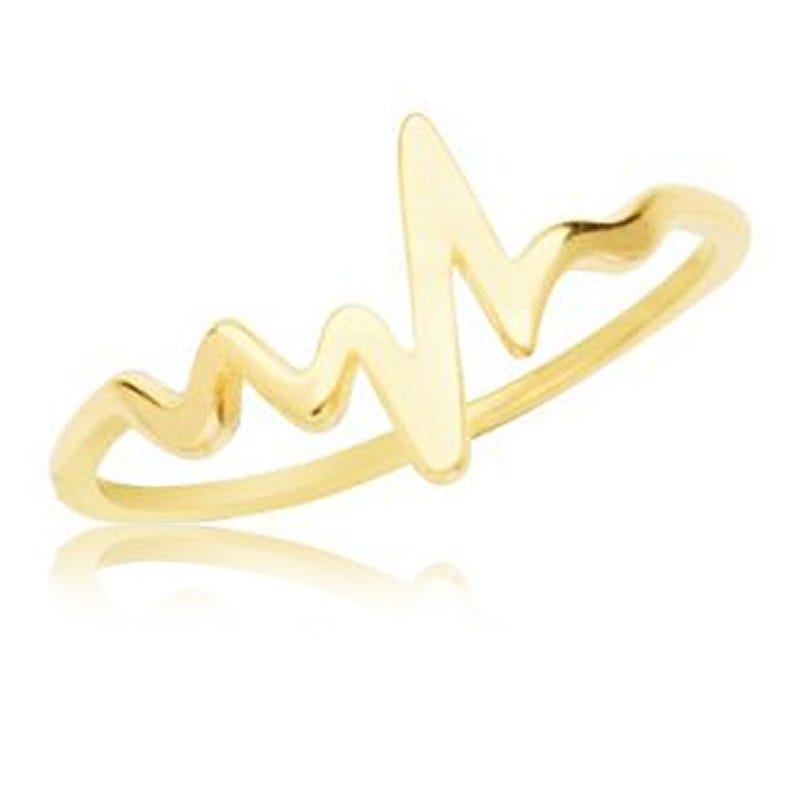 Heartbeat Fashion Ring in 14k Yellow Gold Sz 8