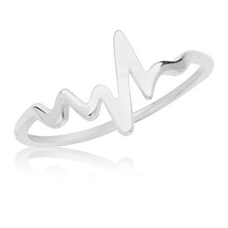 Heartbeat Promise Ring in 14k White Gold Sz 8
