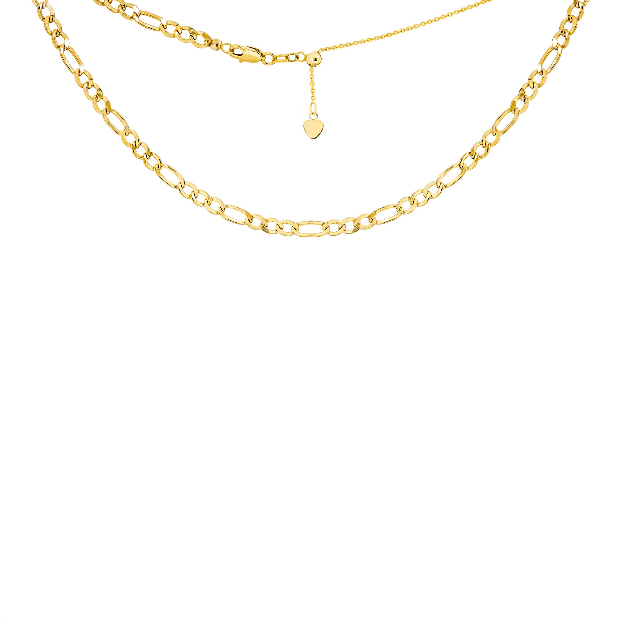Ladies Figaro Choker Adjustable Necklace in 14k Yellow Gold