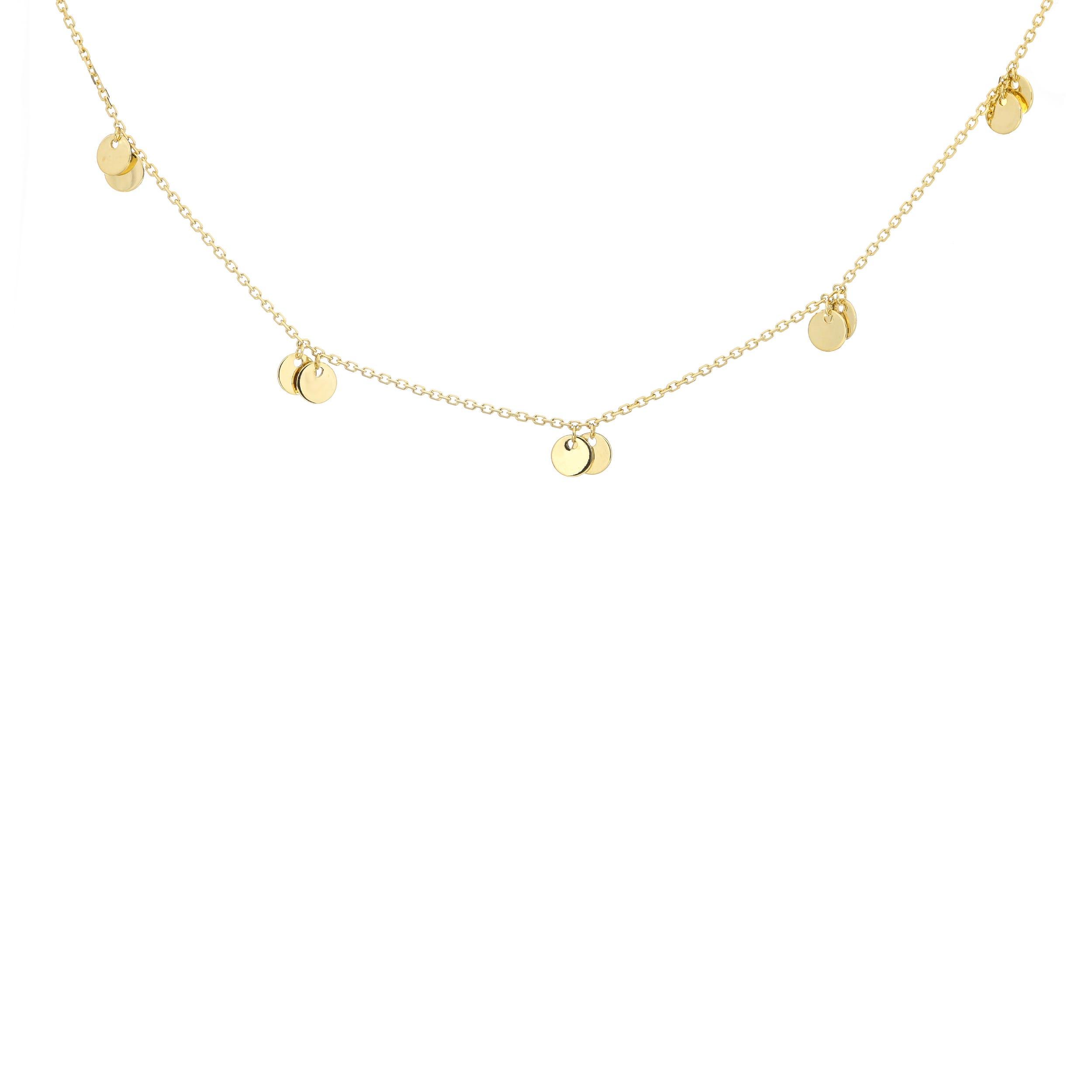 0b2ec7c90bd6da Ladies Five Double Dangle Small Disc Adjustable Necklace in 14k ...