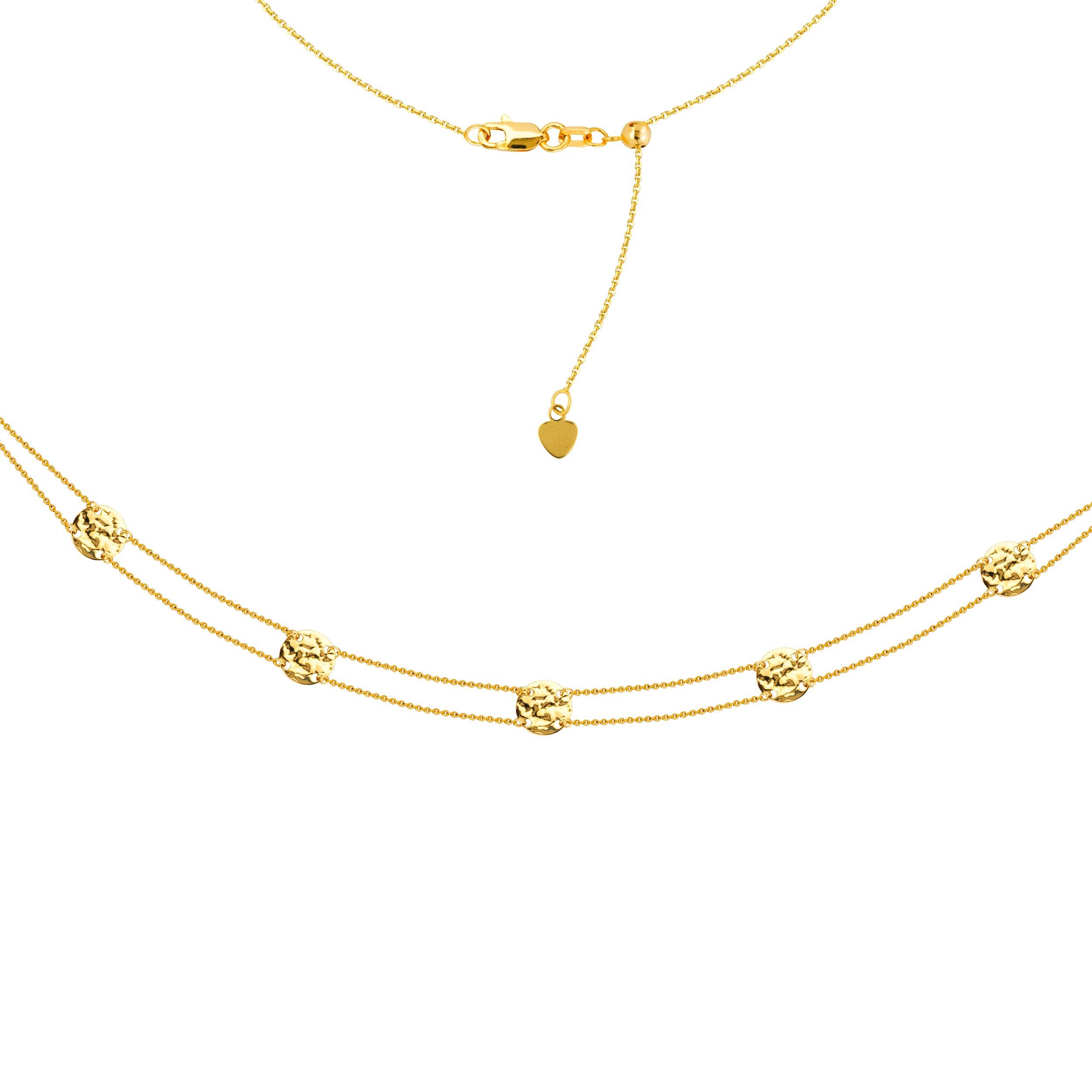 Ladies Hammered Disc Station Fashion Adjustable Choker Necklace