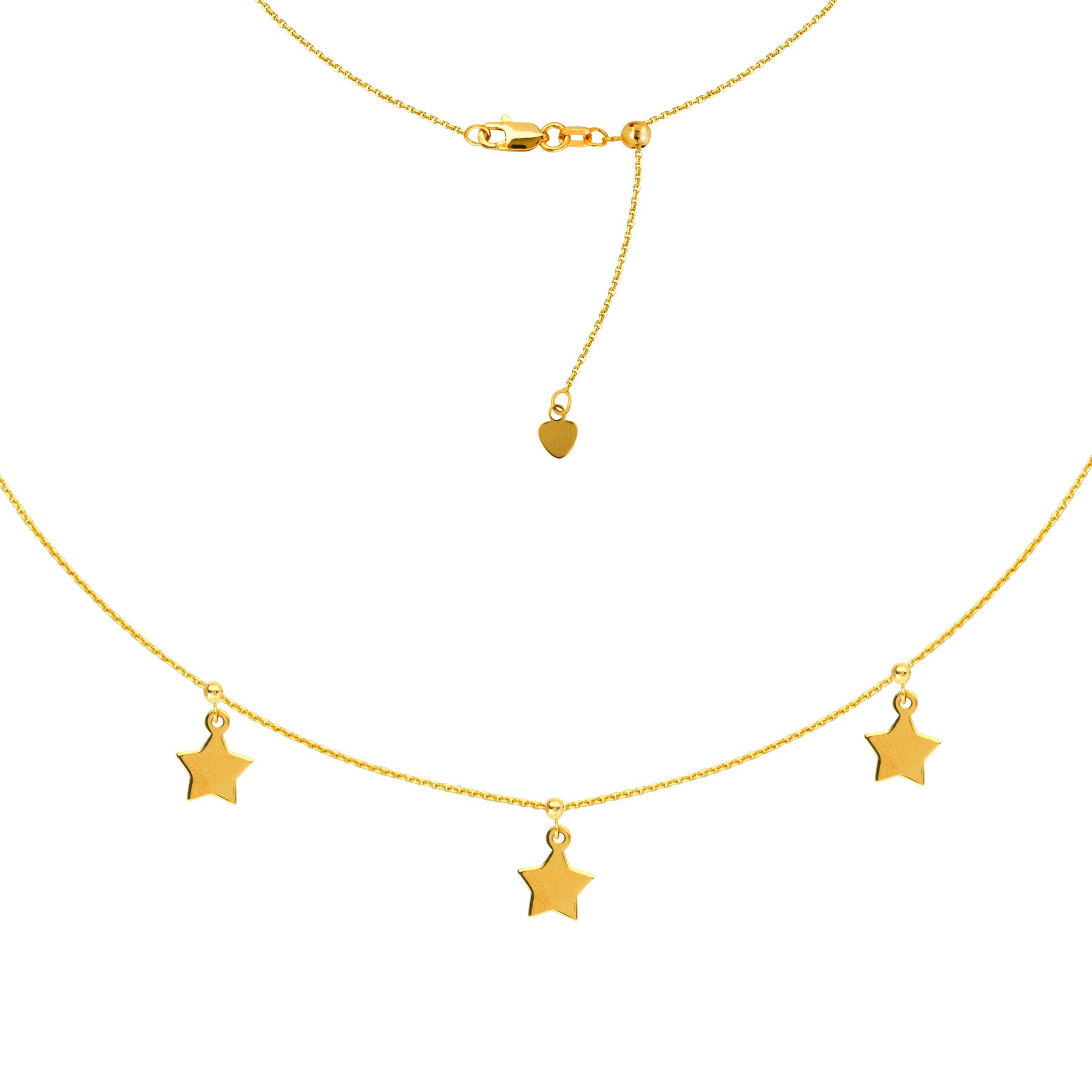 Ladies Triple Star Adjustable Choker Fashion Necklace 16
