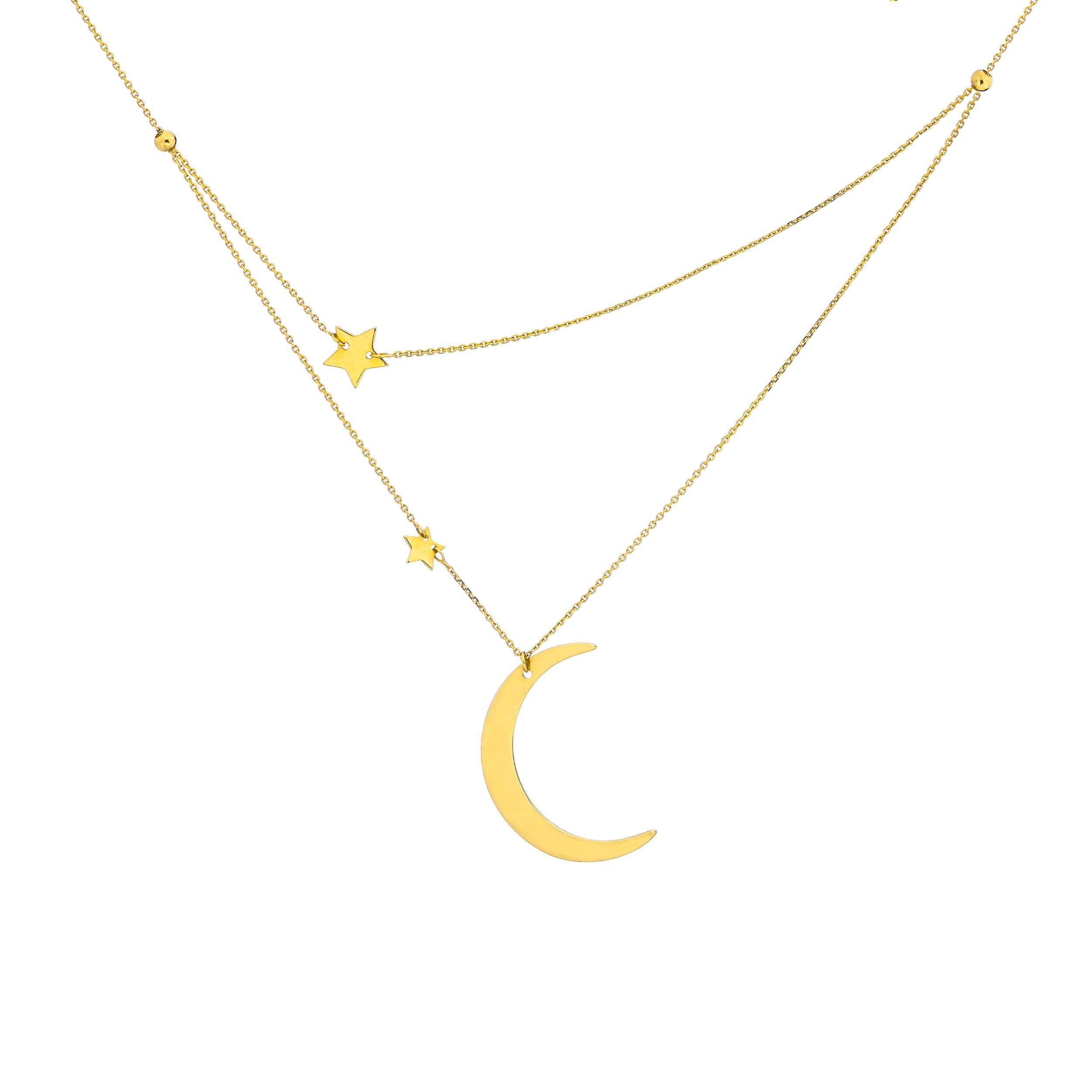 98378660c421b2 Ladies Half Moon & Stars Double Layer Adjustable Necklace in 14k ...