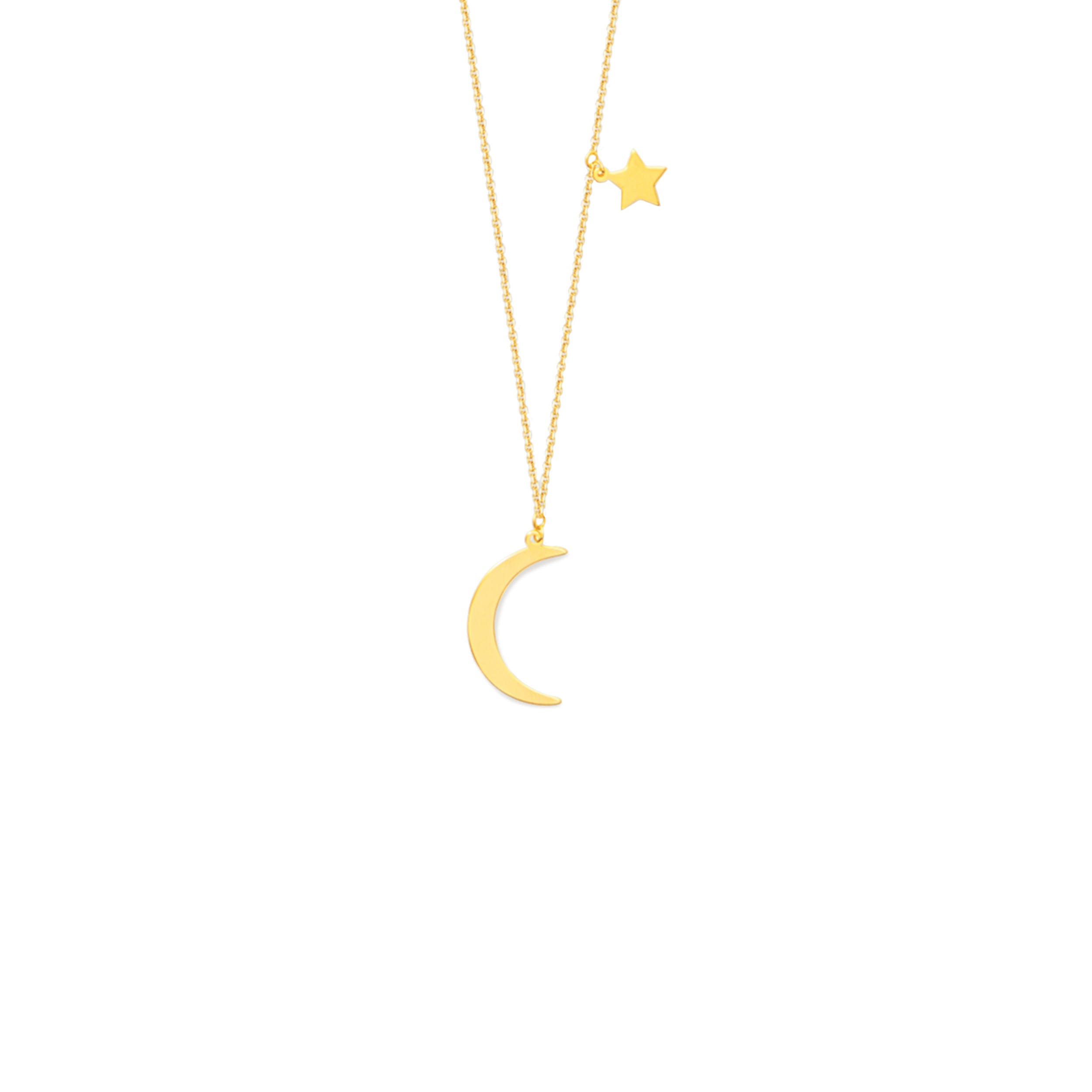 2ee350d2e8d7c1 Ladies Crescent Moon & Star Adjustable Fashion Necklace in 14k ...