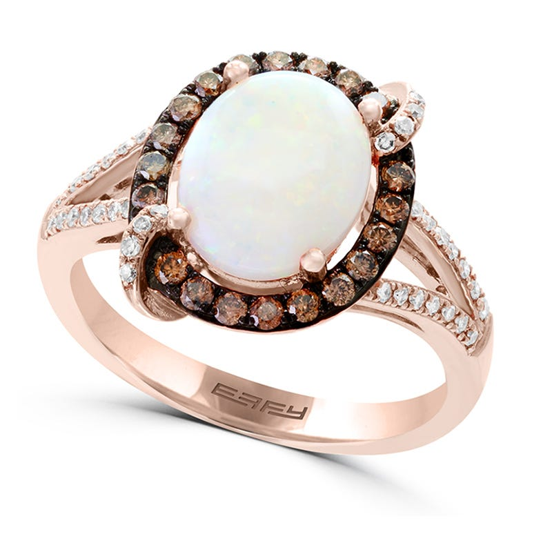 EFFY Oval Opal & Diamond Ring in 14k Rose Gold