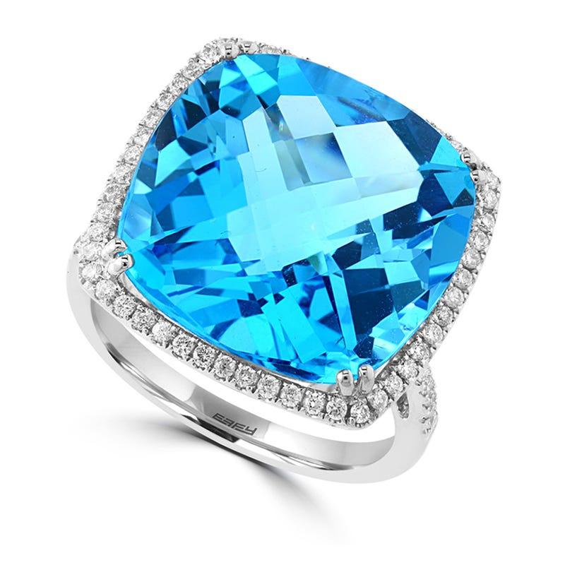 EFFY Blue Topaz & Diamond Square Ring in 14k White Gold
