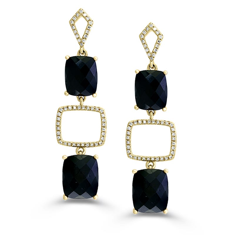 EFFY Onyx & Diamond Dangle Earrings in 14k Yellow Gold