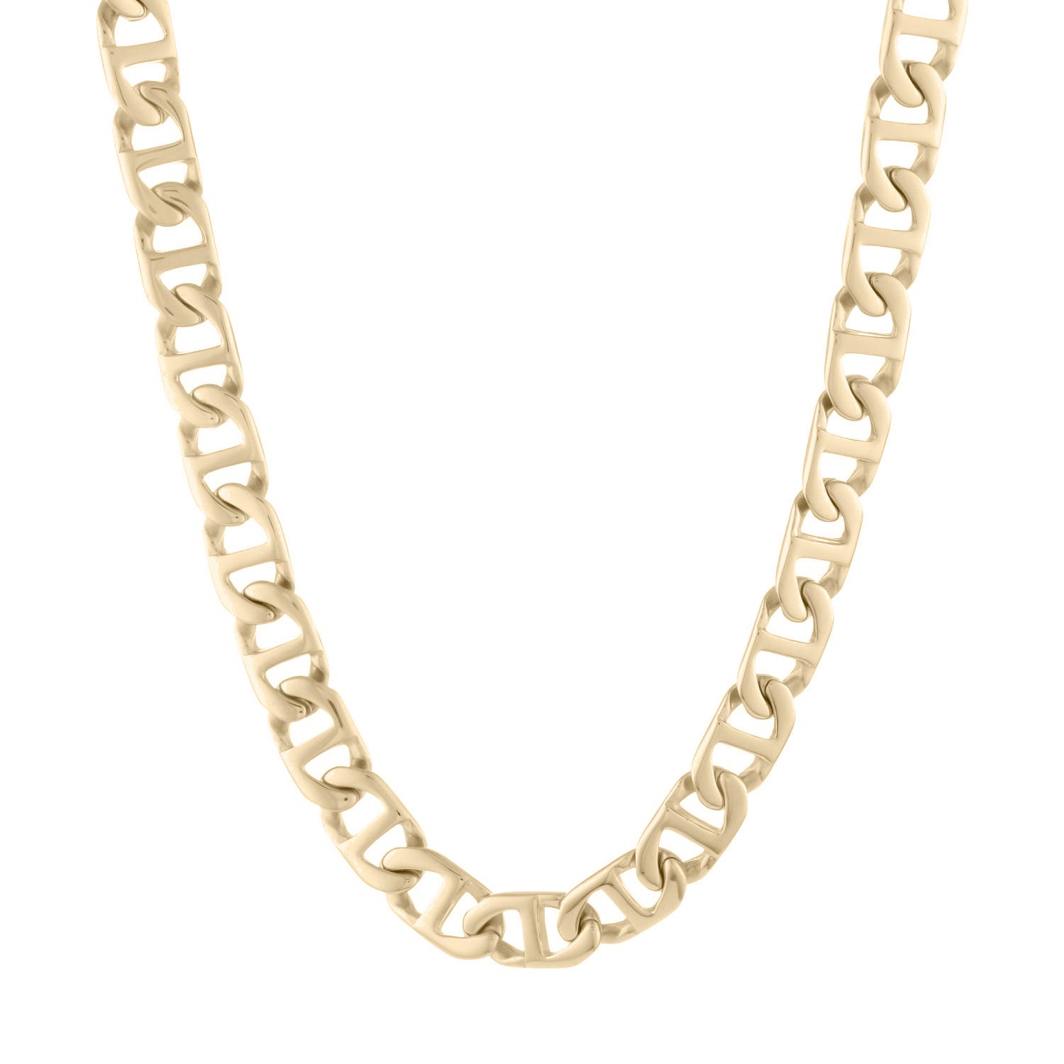 Men's Stainless Steel Marine Link Gold Ion-Plate Chain
