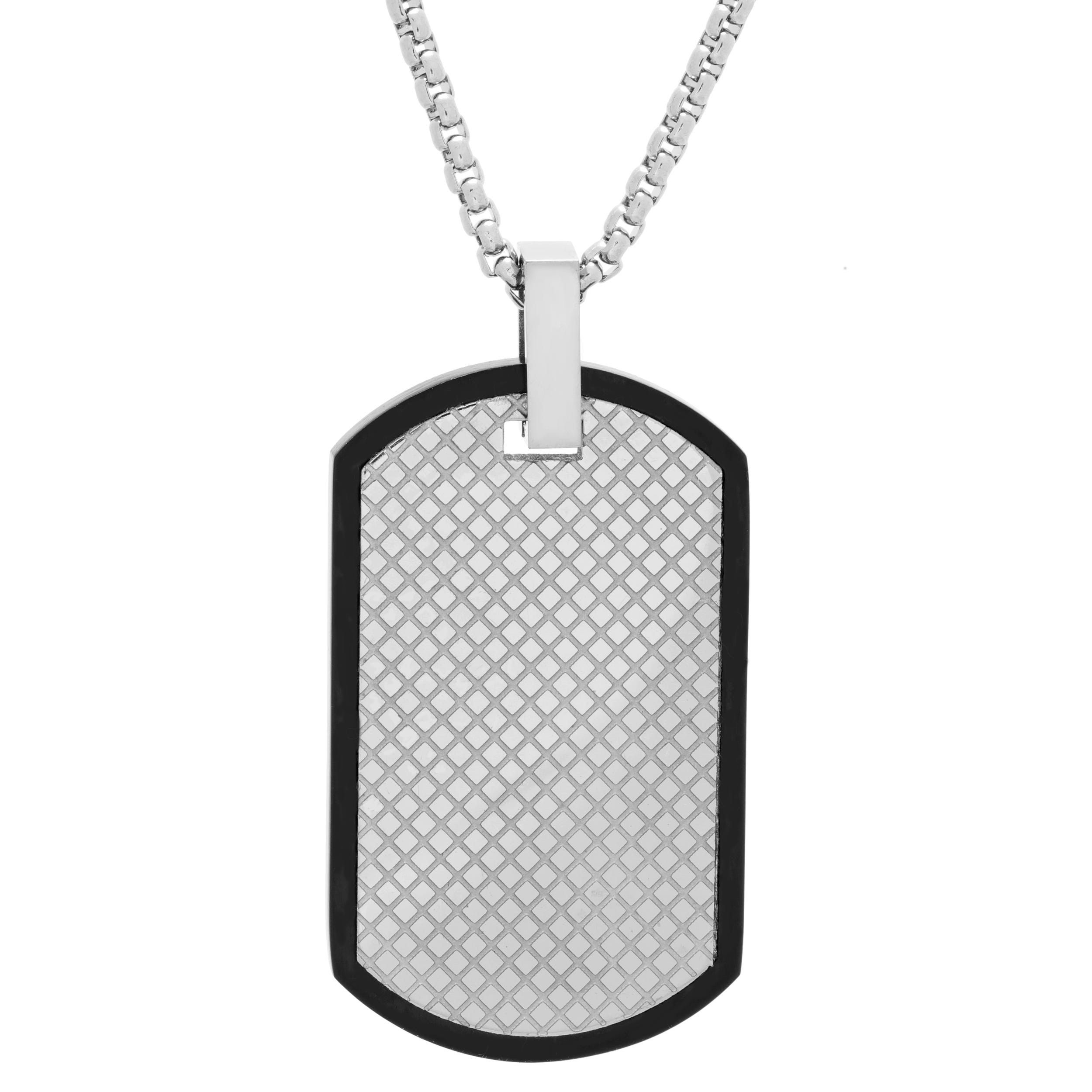 Men's Stainless Steel Black Border Dog Tag Necklace