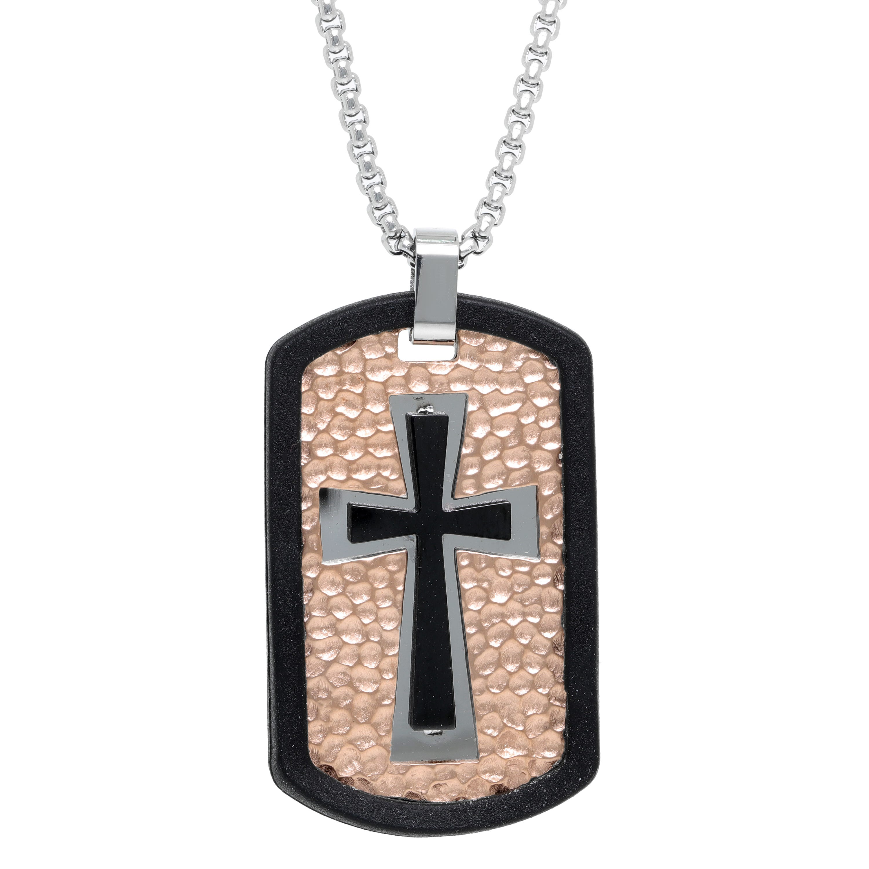 Men's Stainless Steel Rose Ion-Plate Pebbled Dog tag Necklace