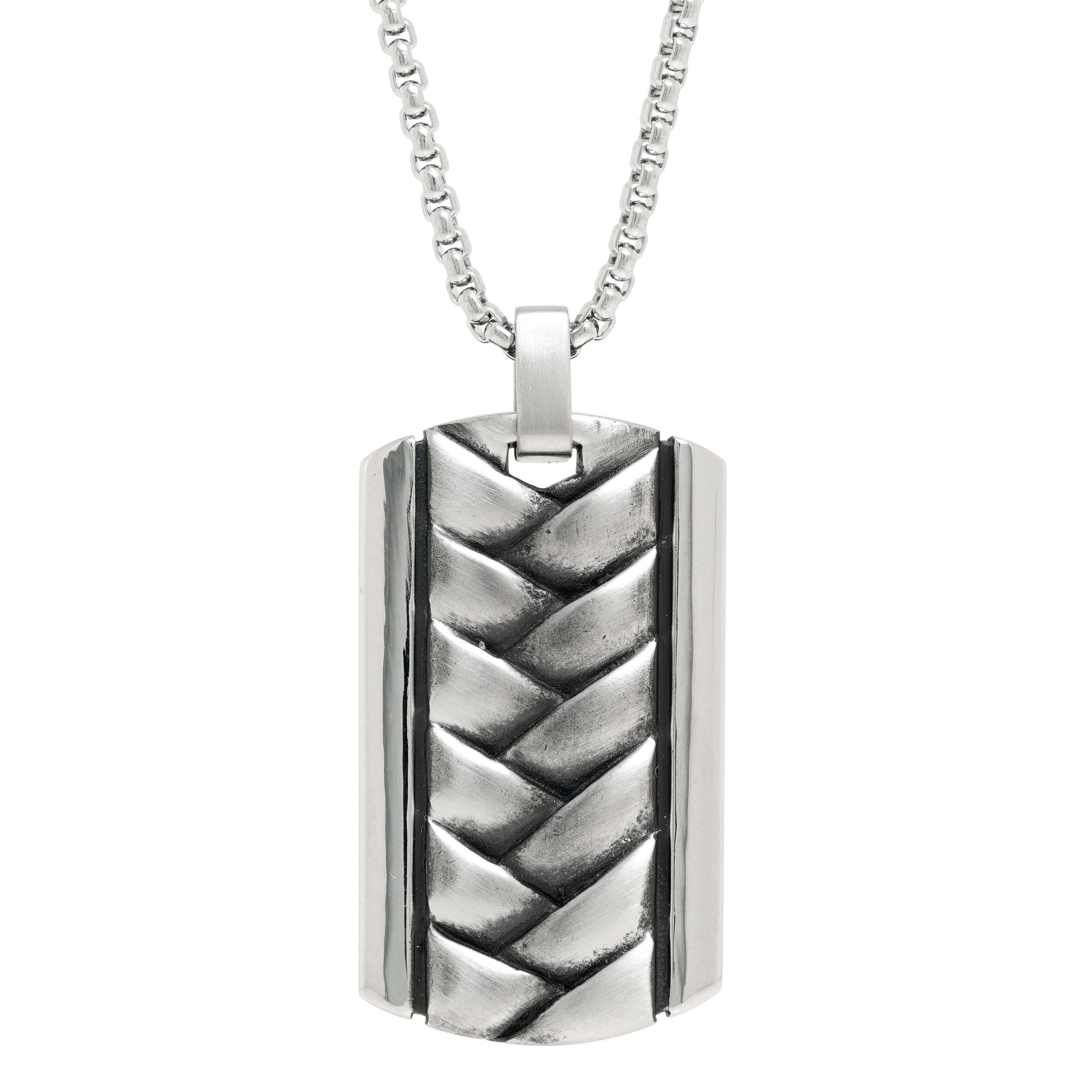 Men's Stainless Steel Textured Layers Pendant