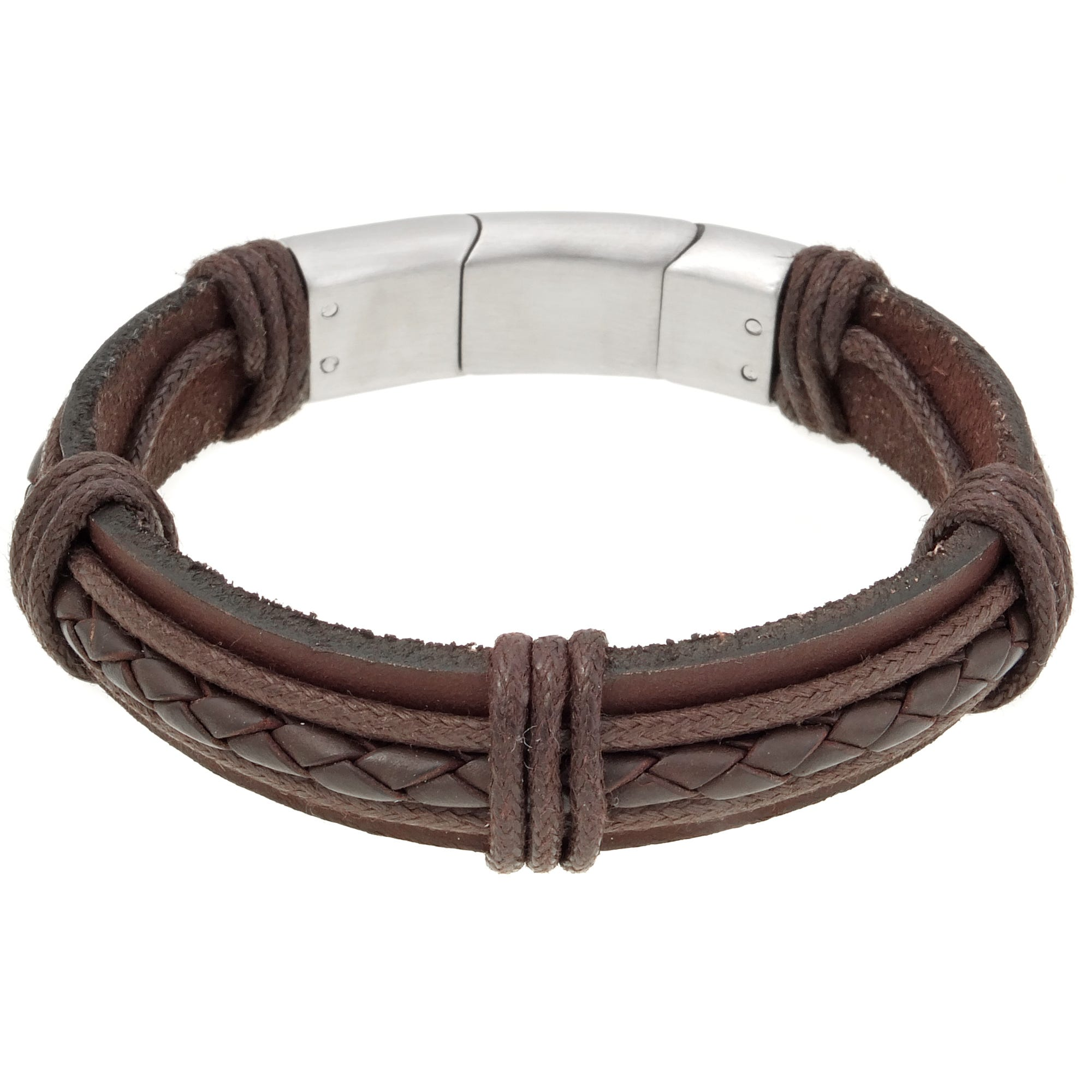 Men's Stainless Steel Clasp Brown Leather Braided Bracelet
