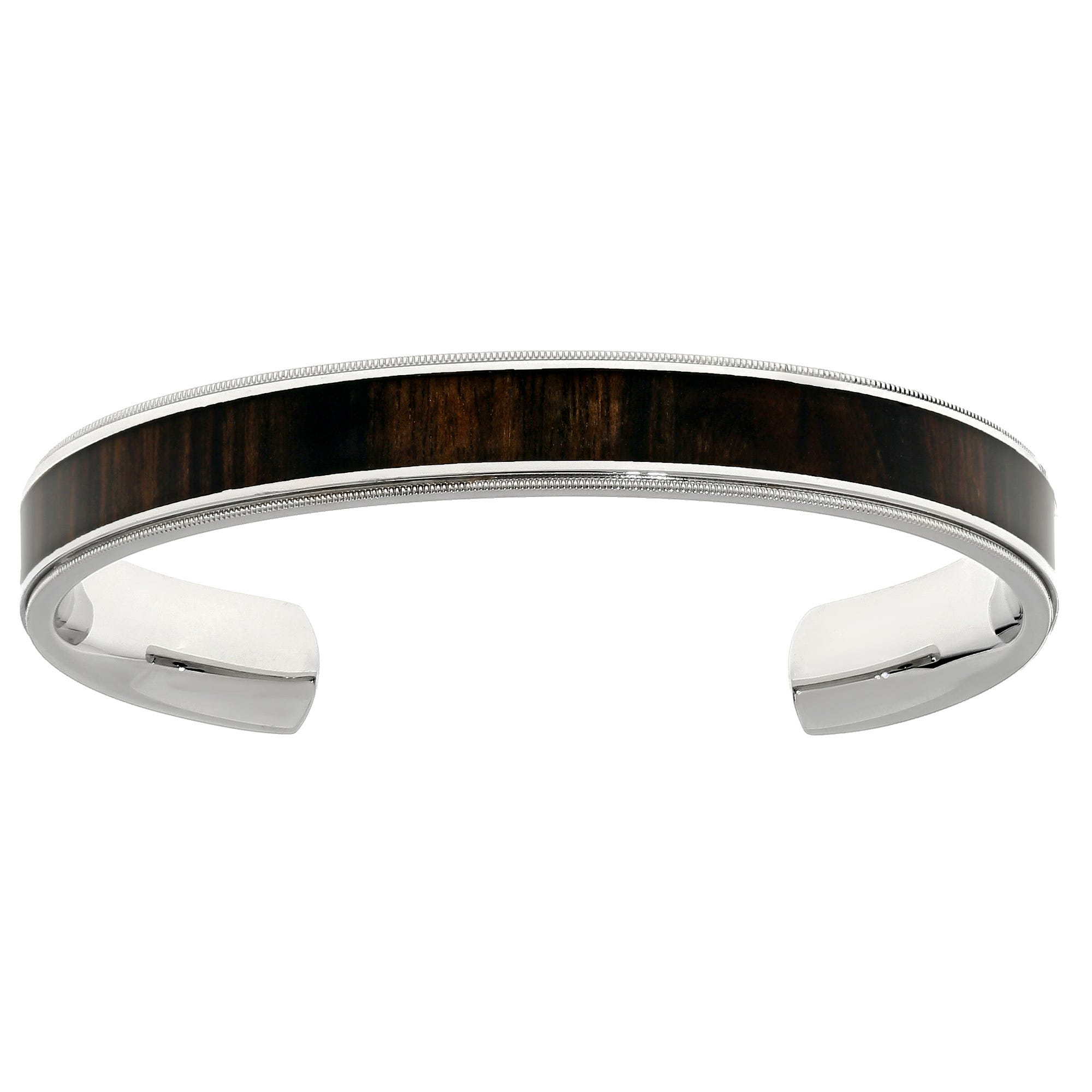Men's Stainless Steel Wood Inlay Cuff