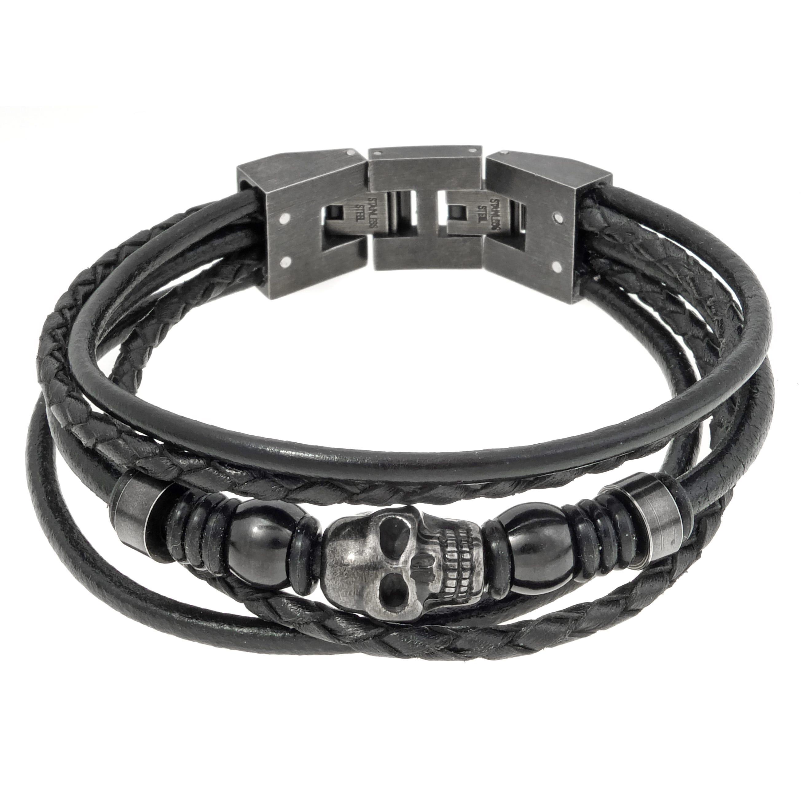 Men's Stainless Steel Skull Black Leather Rope Bracelet