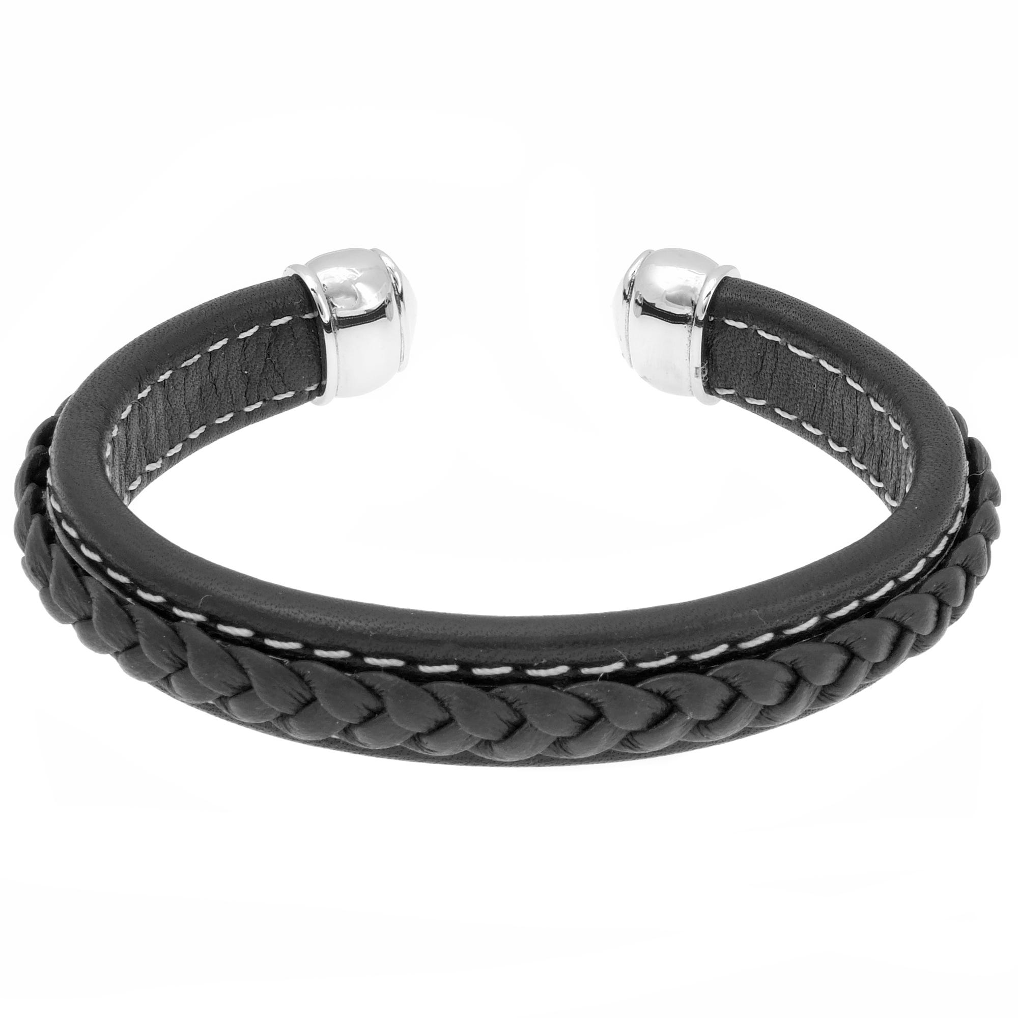 Men's Stainless Steel Black Braided Leather Cuff