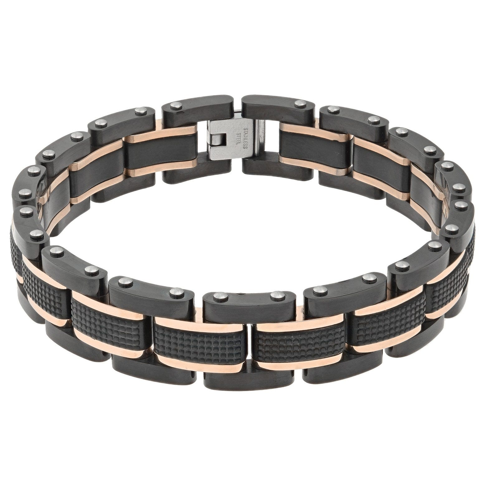 Men's Stainless Steel Rose Tone Detail Bracelet