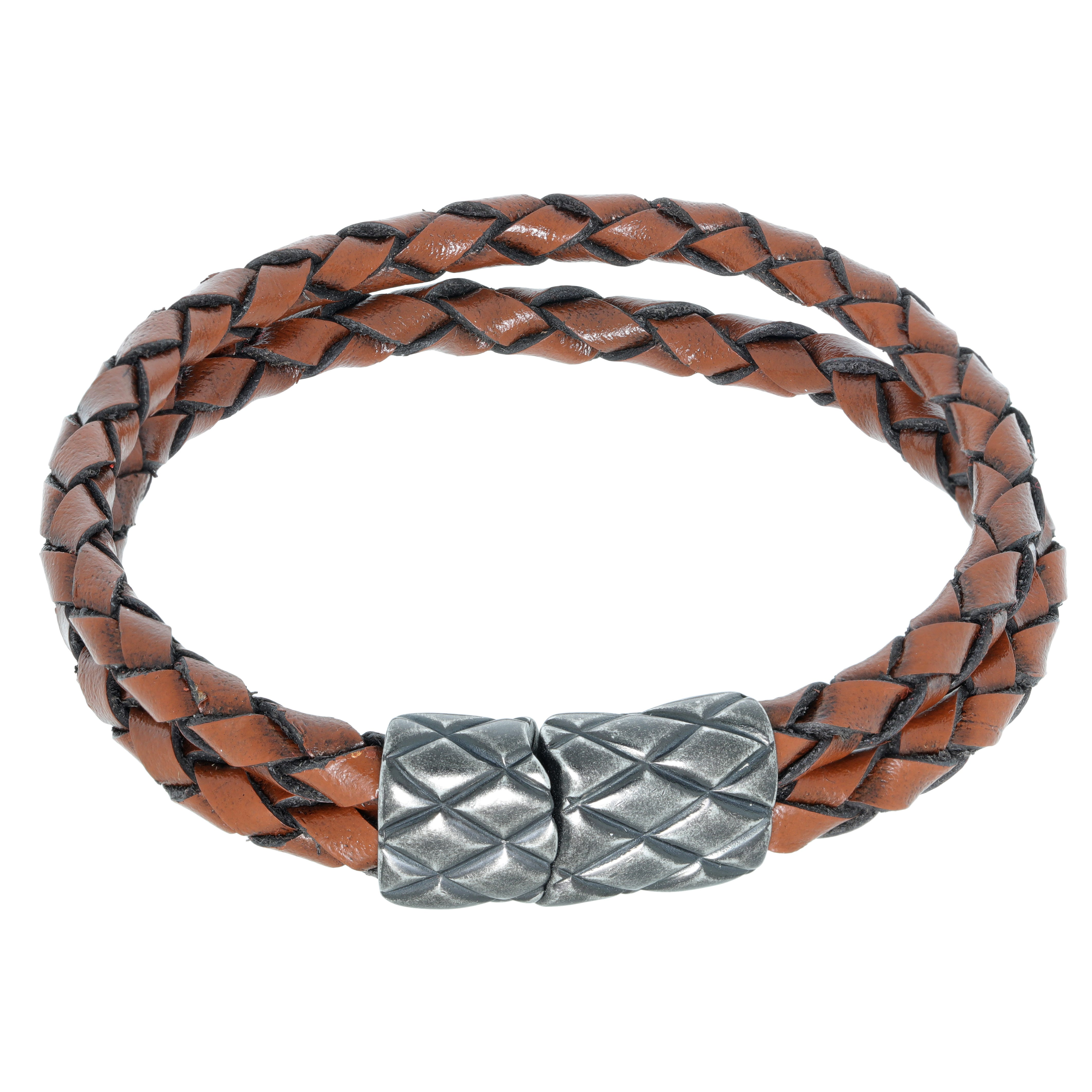 Men's Stainless Steel Clasp Double Brown Braid Leather Bracelet