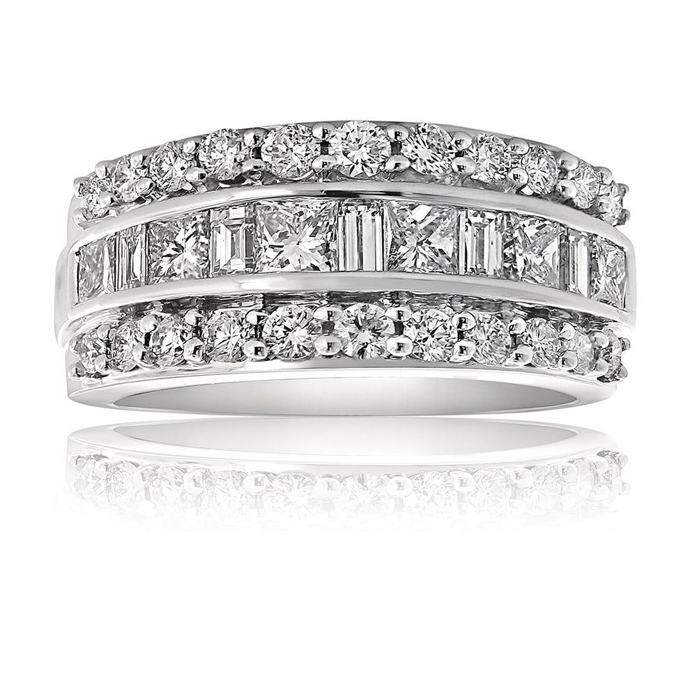 Kallati Baguette & Round 2ctw. Diamond Anniversary Ring in 14k White Gold