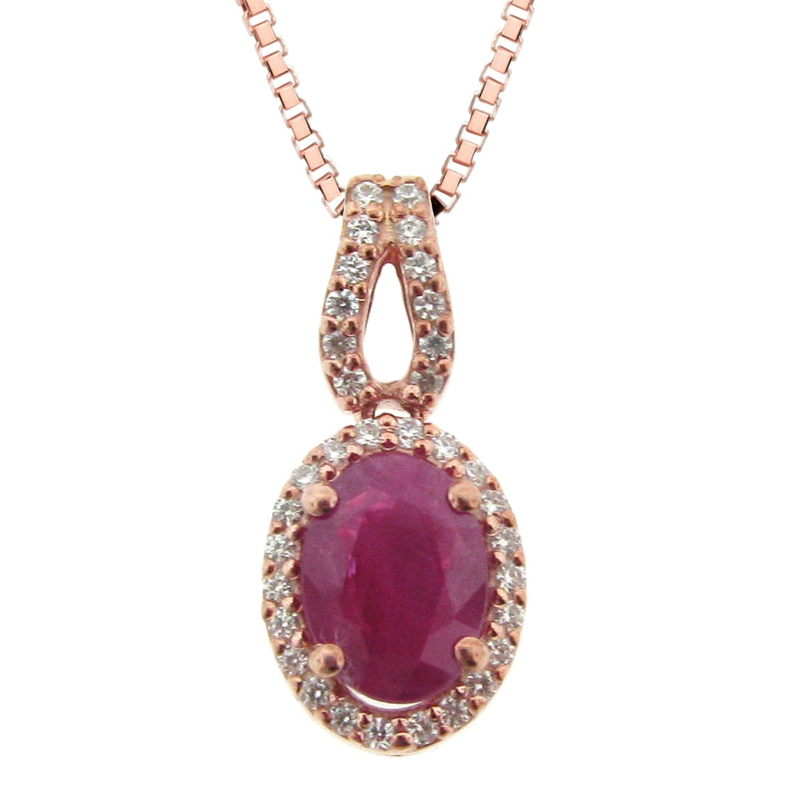 Oval Ruby and Diamond Halo Pendant in 10K Rose Gold