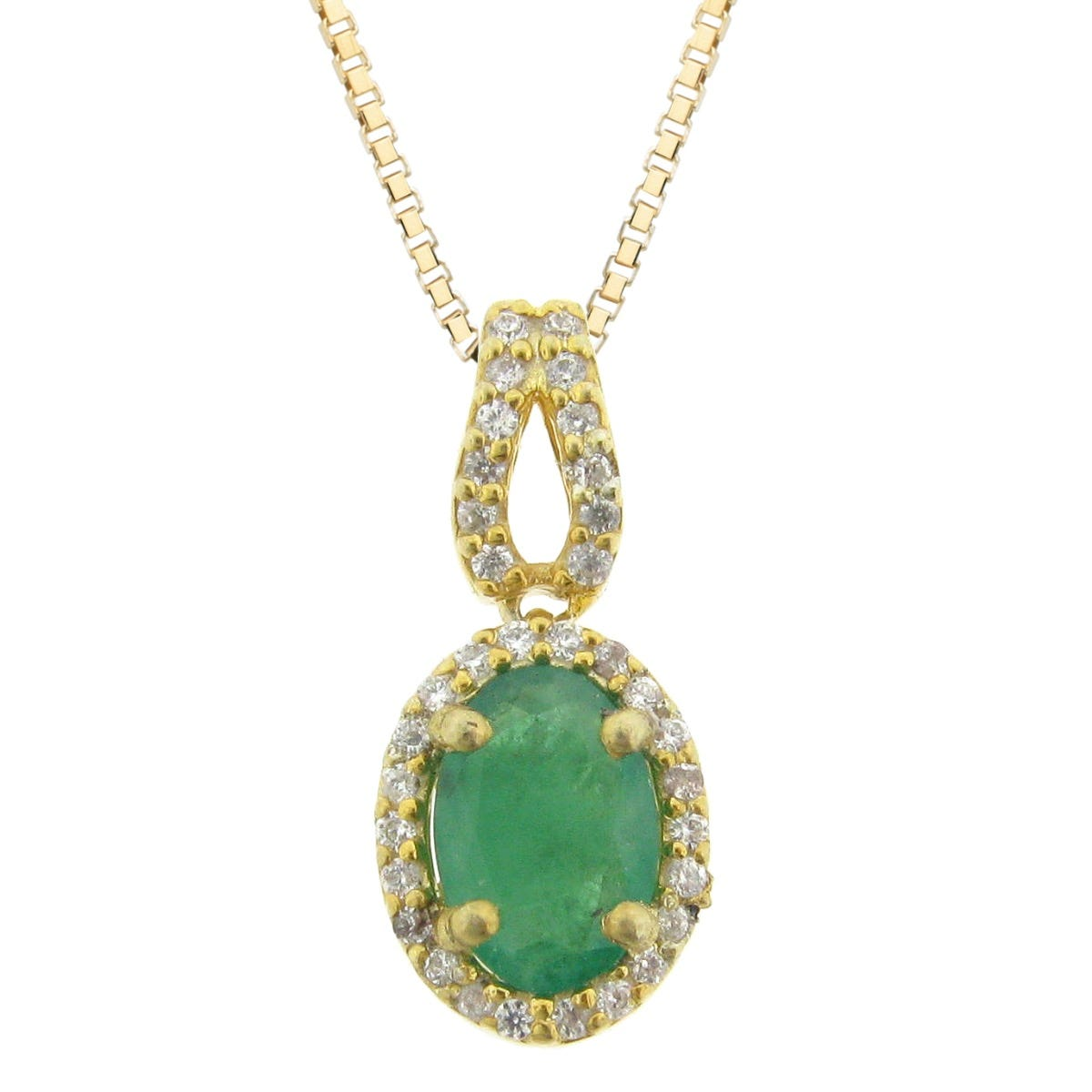 Emerald and Diamond Pendant in 10K Yellow Gold