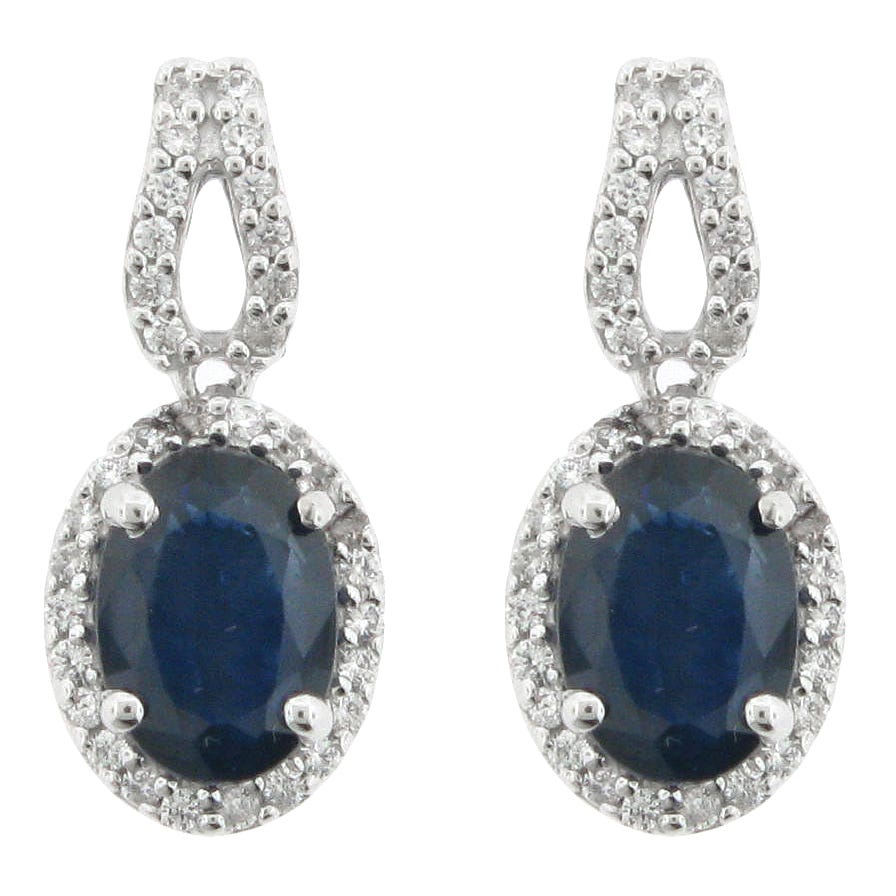 Sapphire & Diamond Drop Earrings in 10K White Gold