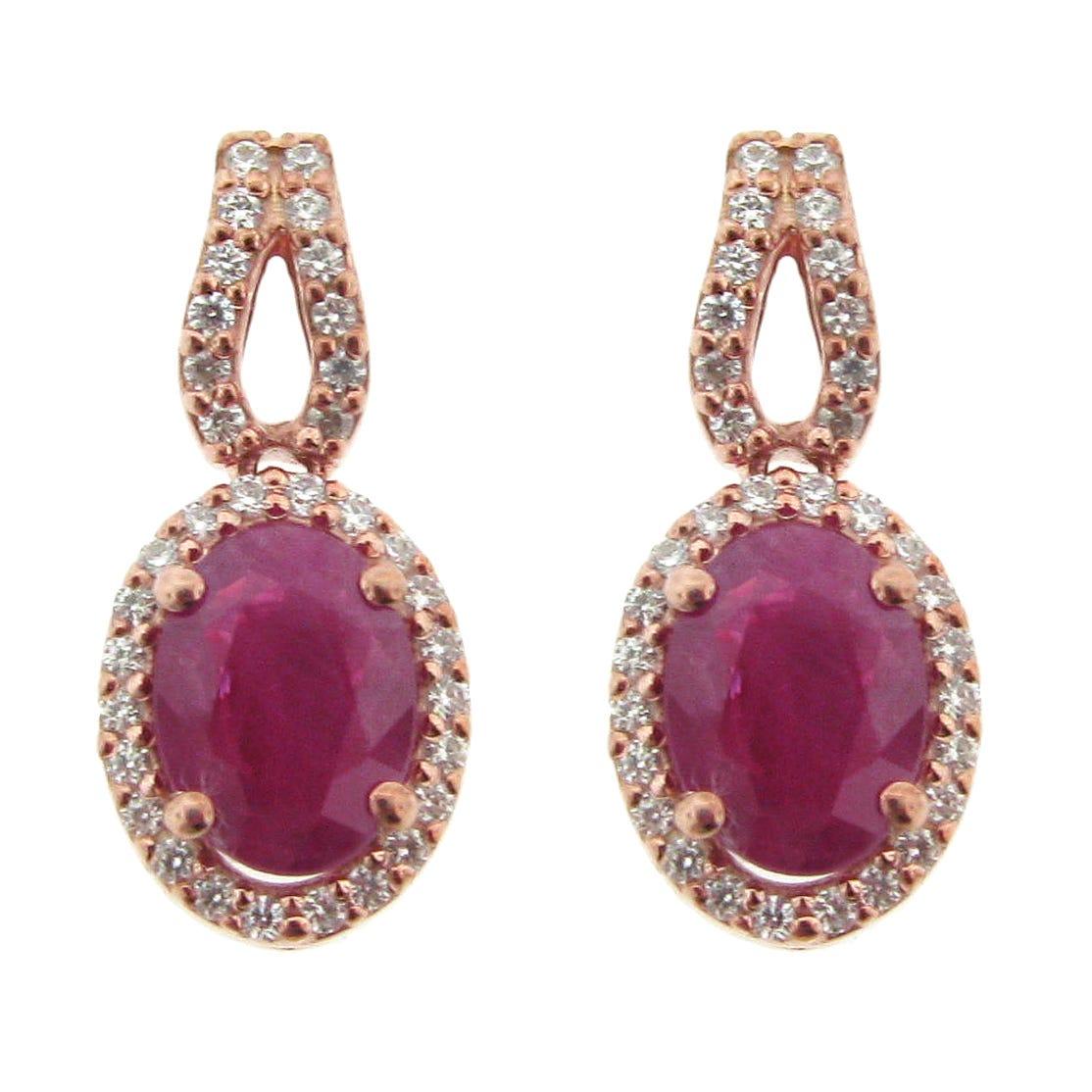 Ruby & Diamond Drop Earrings in 10K Rose Gold