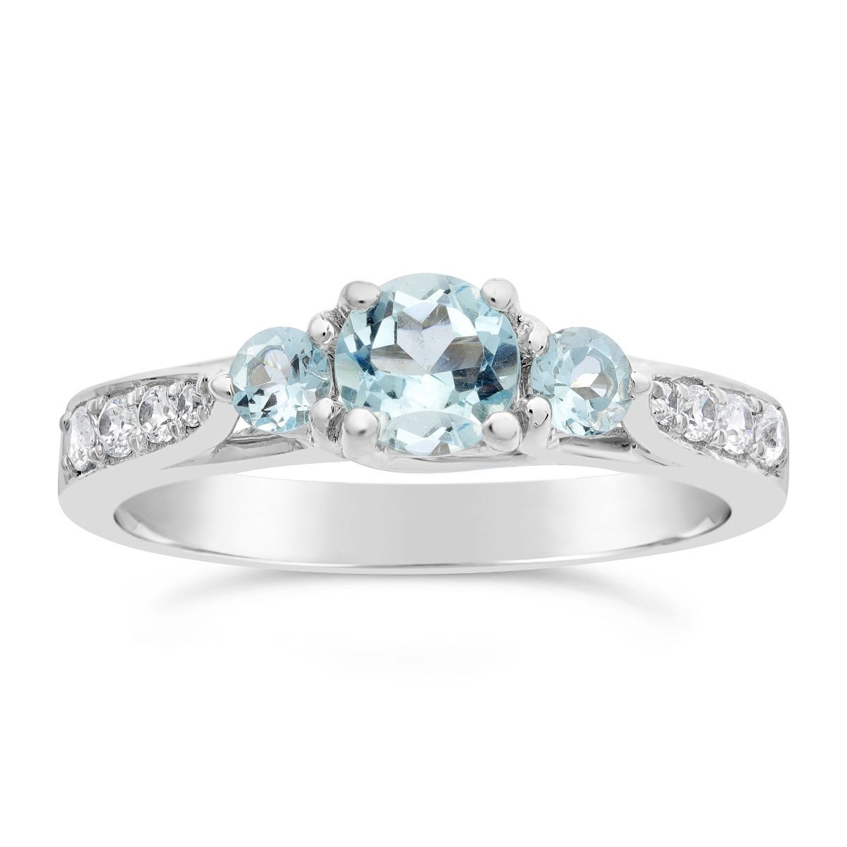 Aquamarine Three Stone Ring in 10k White Gold