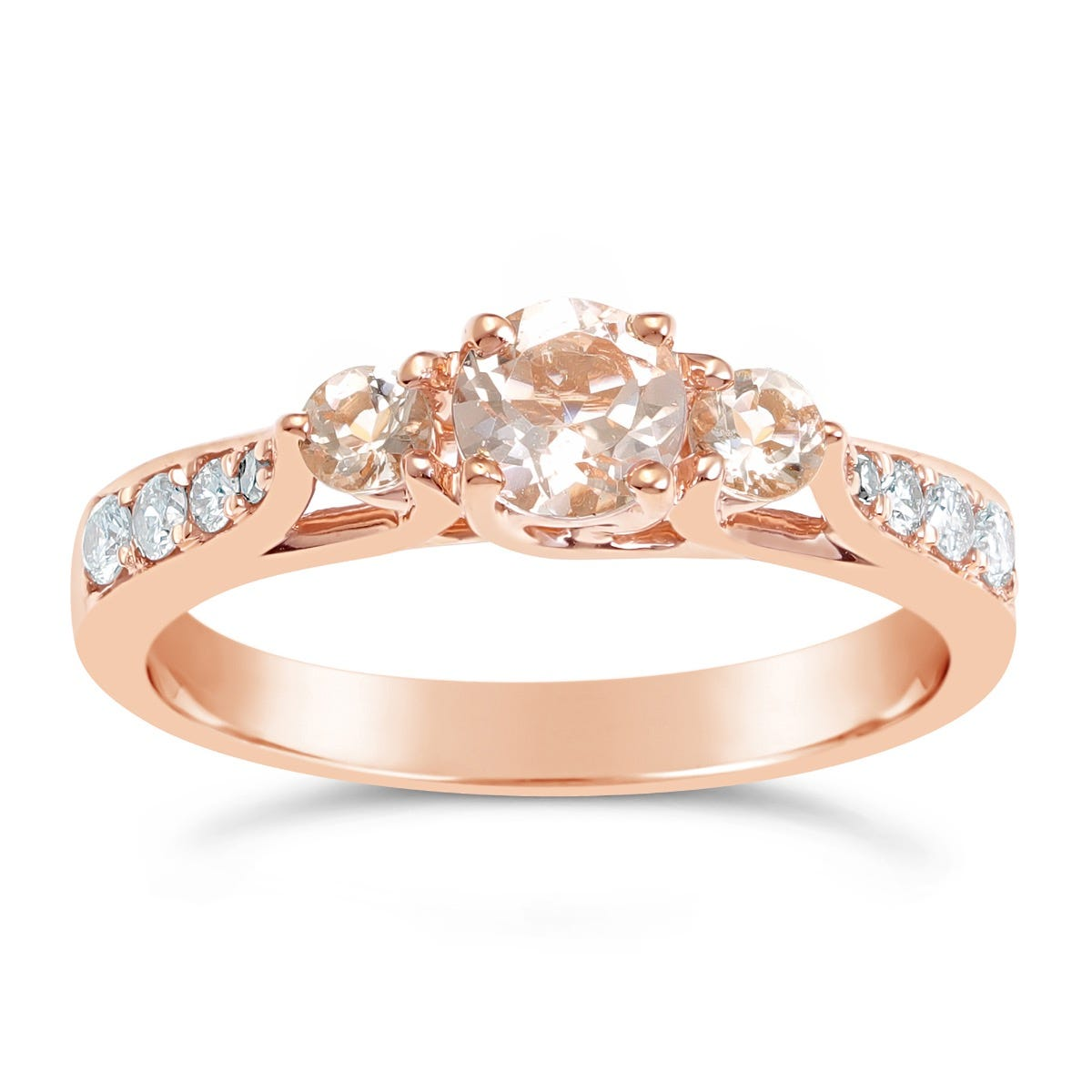 Morganite Three Stone Ring in 10k Rose Gold