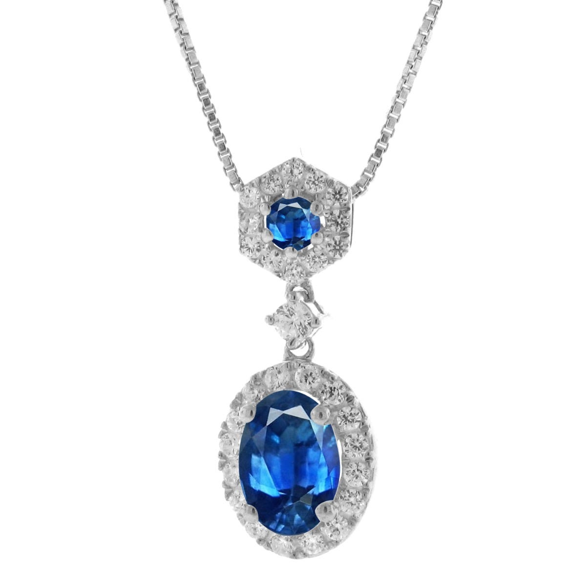 Oval Sapphire & Diamond Halo Pendant in 10k White Gold