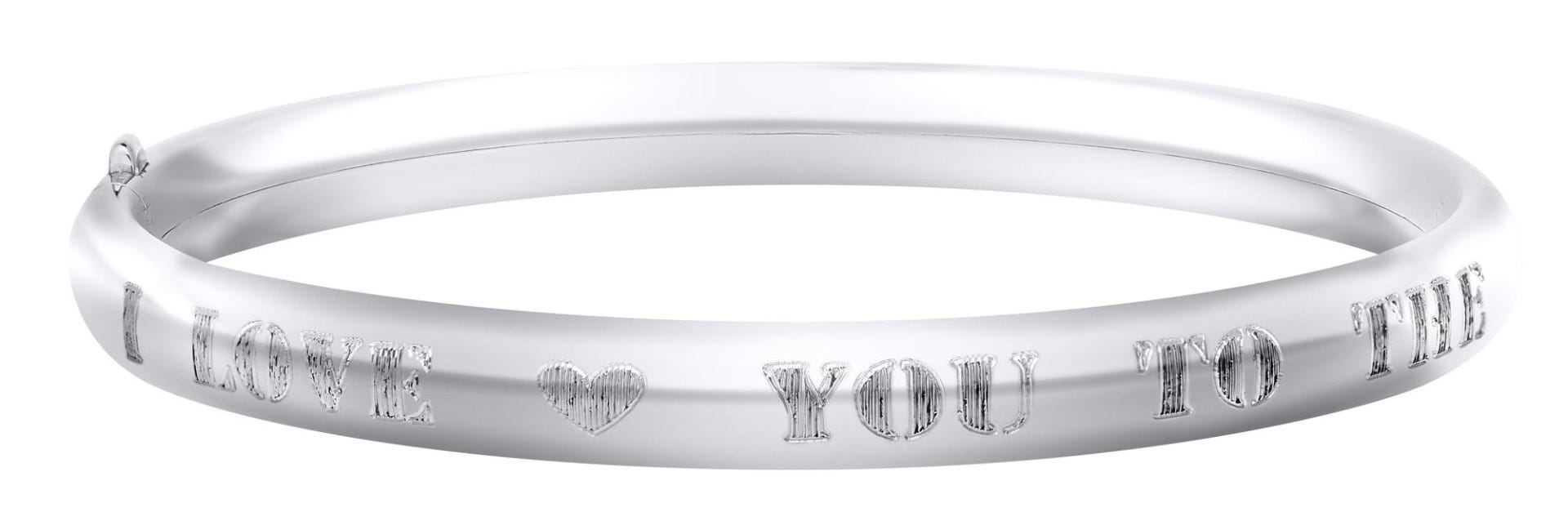 I Love You To The Moon & Back Kids Bracelet in Sterling Silver