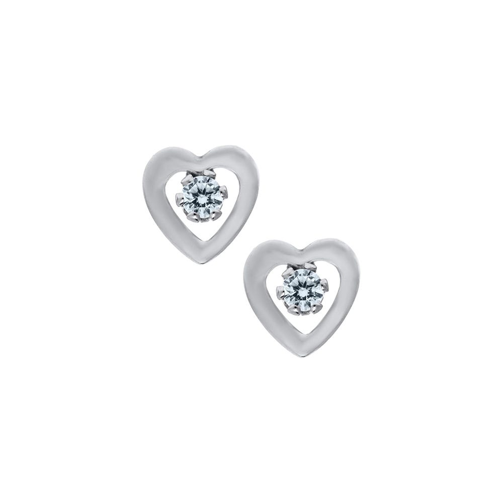Open Heart Crystal Baby Earrings In Sterling Silver With Safety Backs